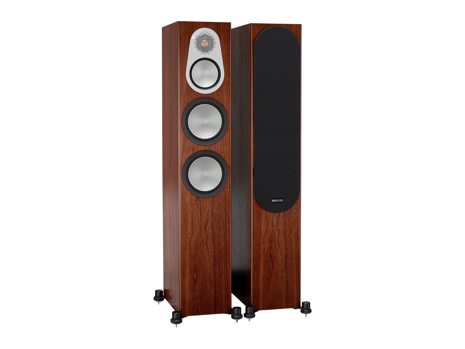 Silver 300, floorstanding speakers, with and without grille in a walnut finish.