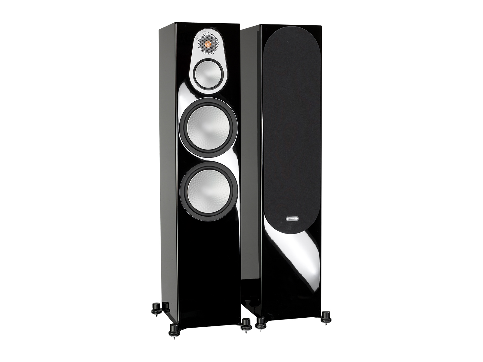 Silver 500, floorstanding speakers, with and without grille in a high gloss black finish.