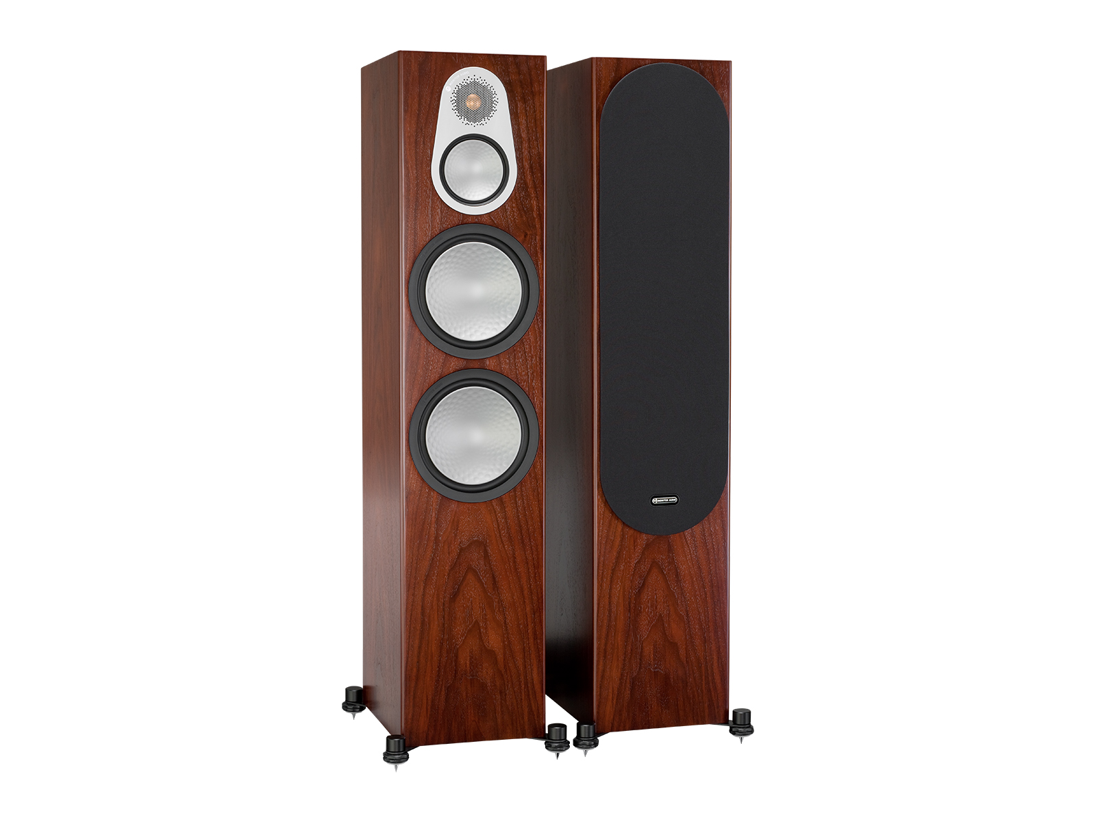 Silver 500, floorstanding speakers, with and without grille in a walnut finish.