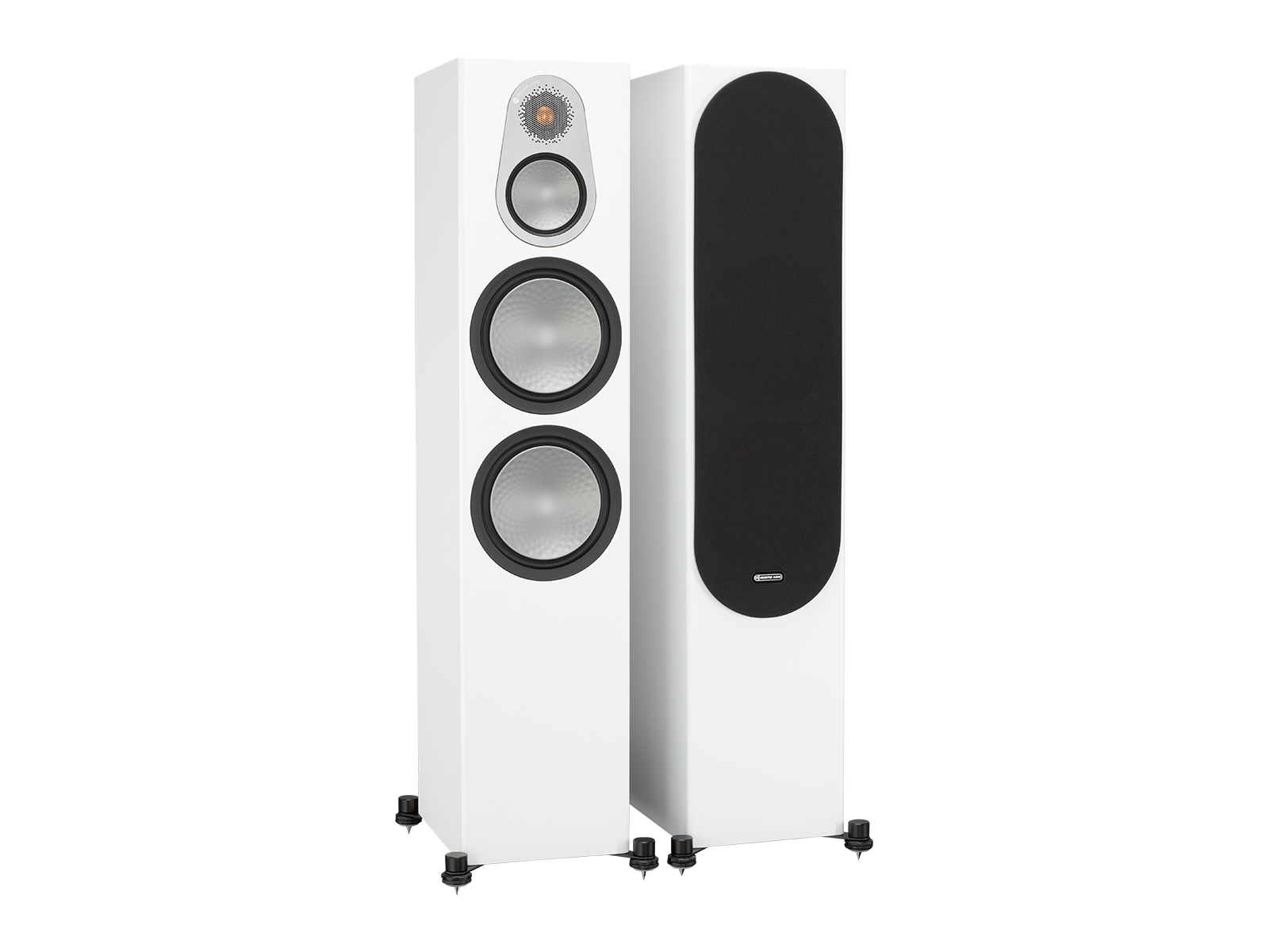 Silver 500, floorstanding speakers, with and without grille in a satin white finish.
