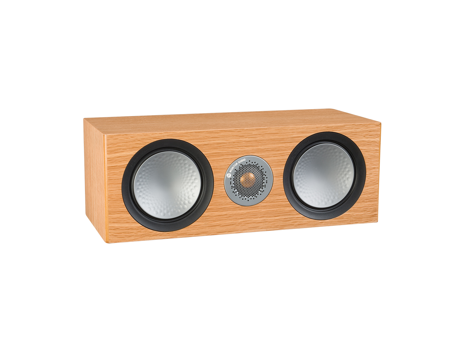 Silver C150, grille-less centre channel speakers, with a natural oak finish.