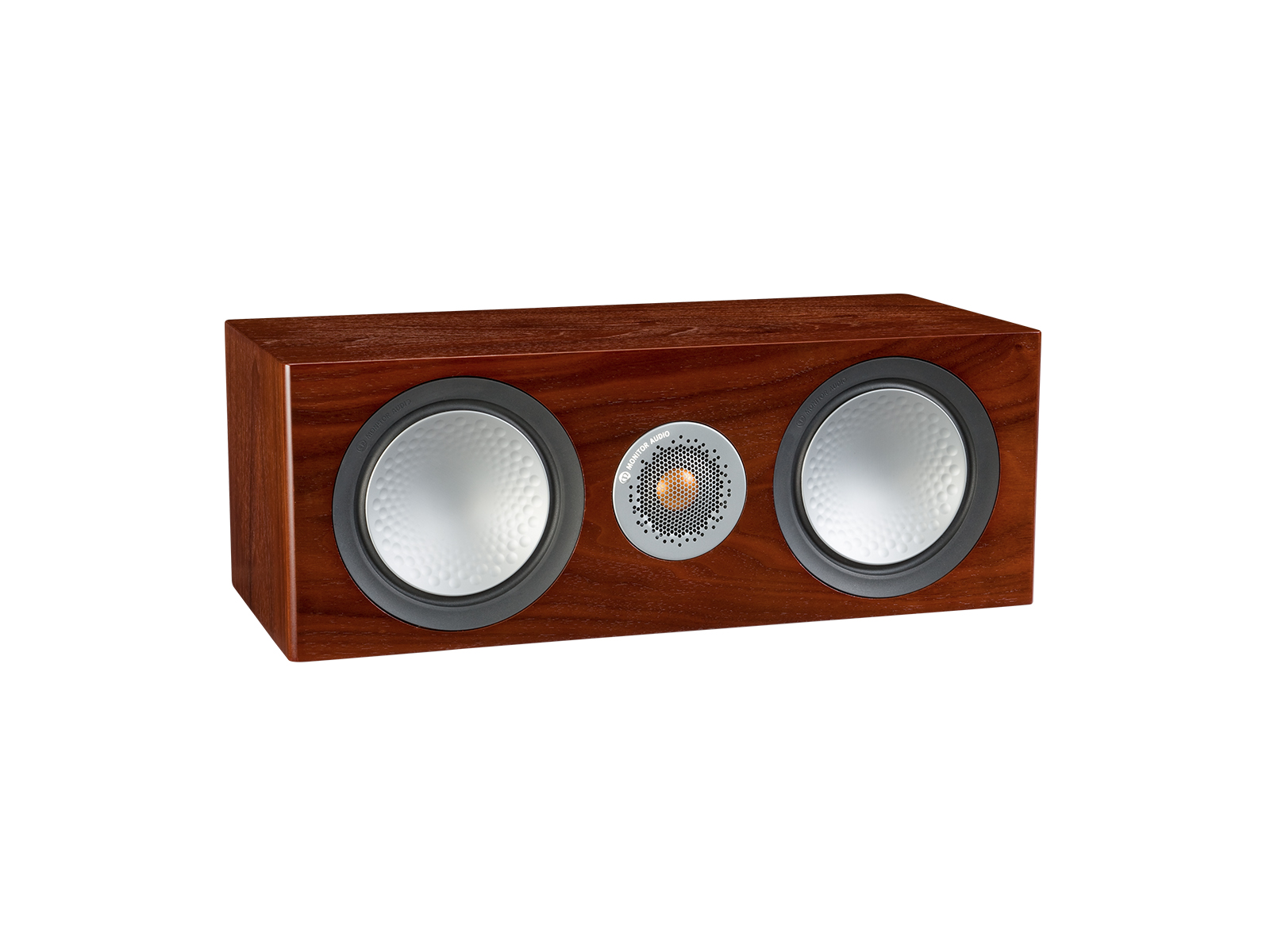 Silver C150, grille-less centre channel speakers, with a walnut finish.