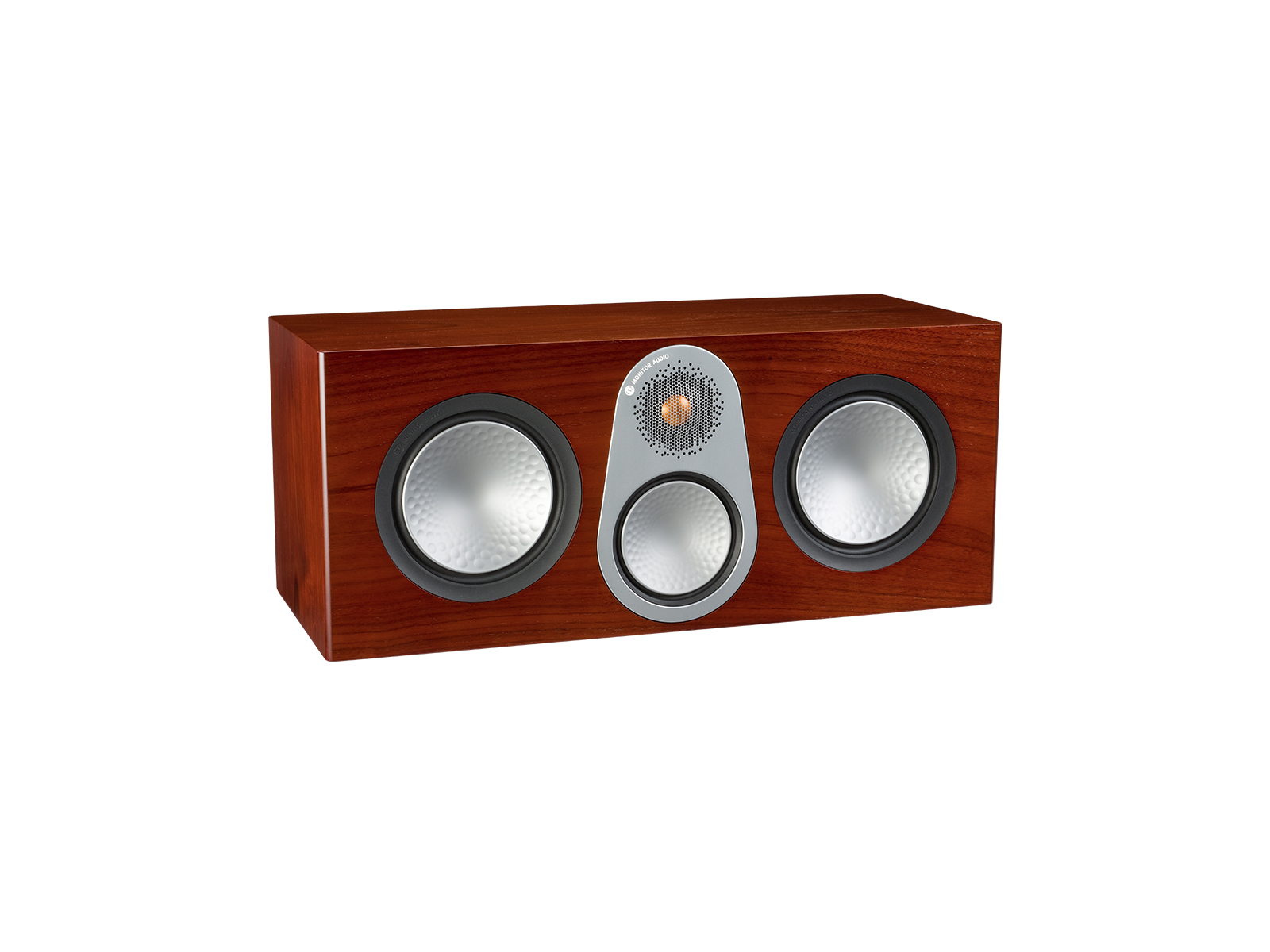 Silver C350, grille-less centre channel speakers, with a walnut finish.
