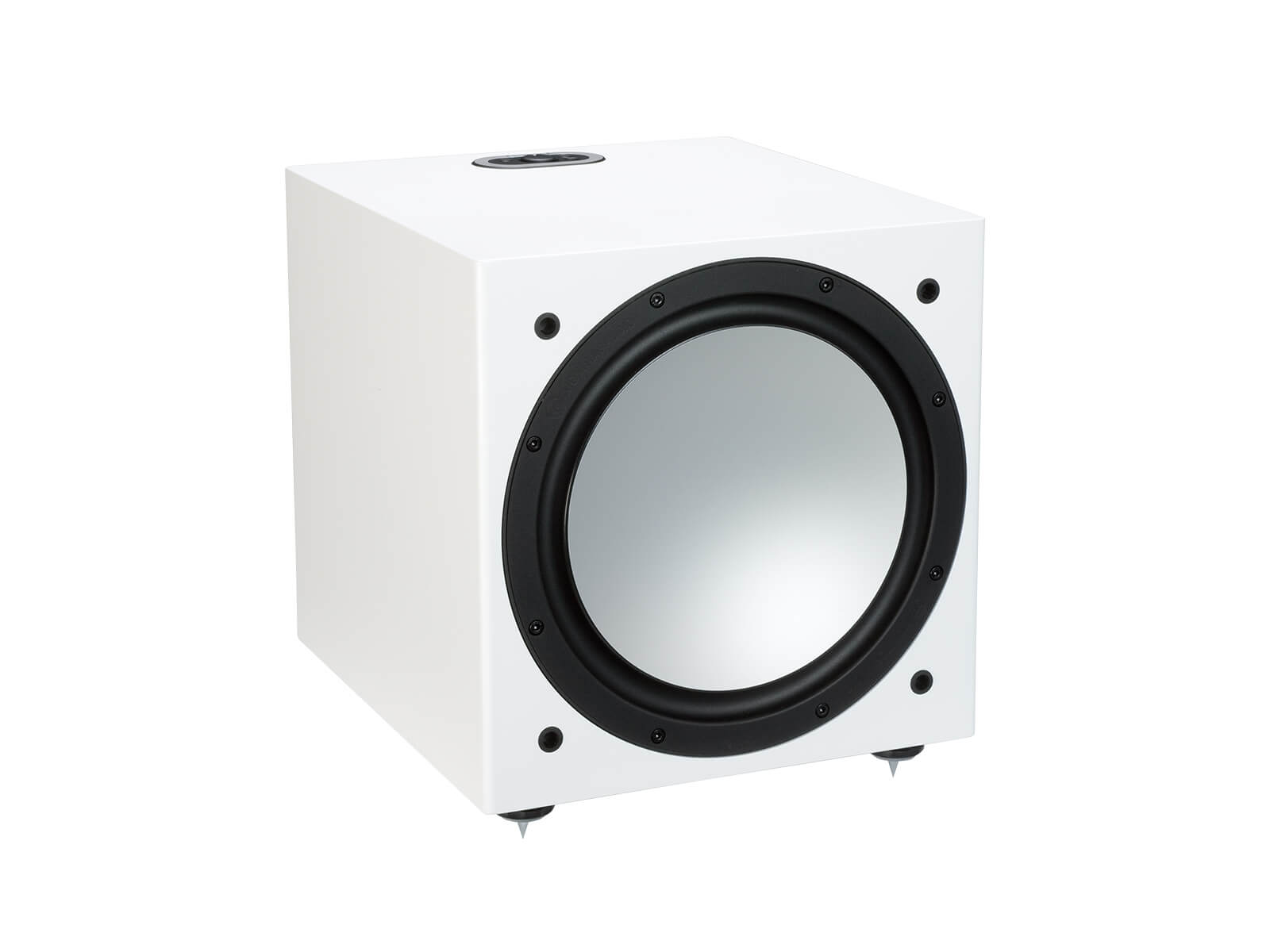 Silver W-12, grille-less subwoofer, with a white satin finish.