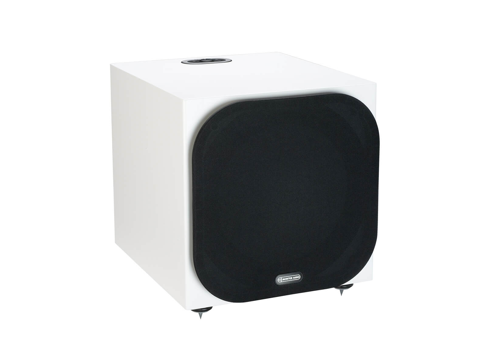 Silver W-12 subwoofer, featuring a grille and a satin white finish.