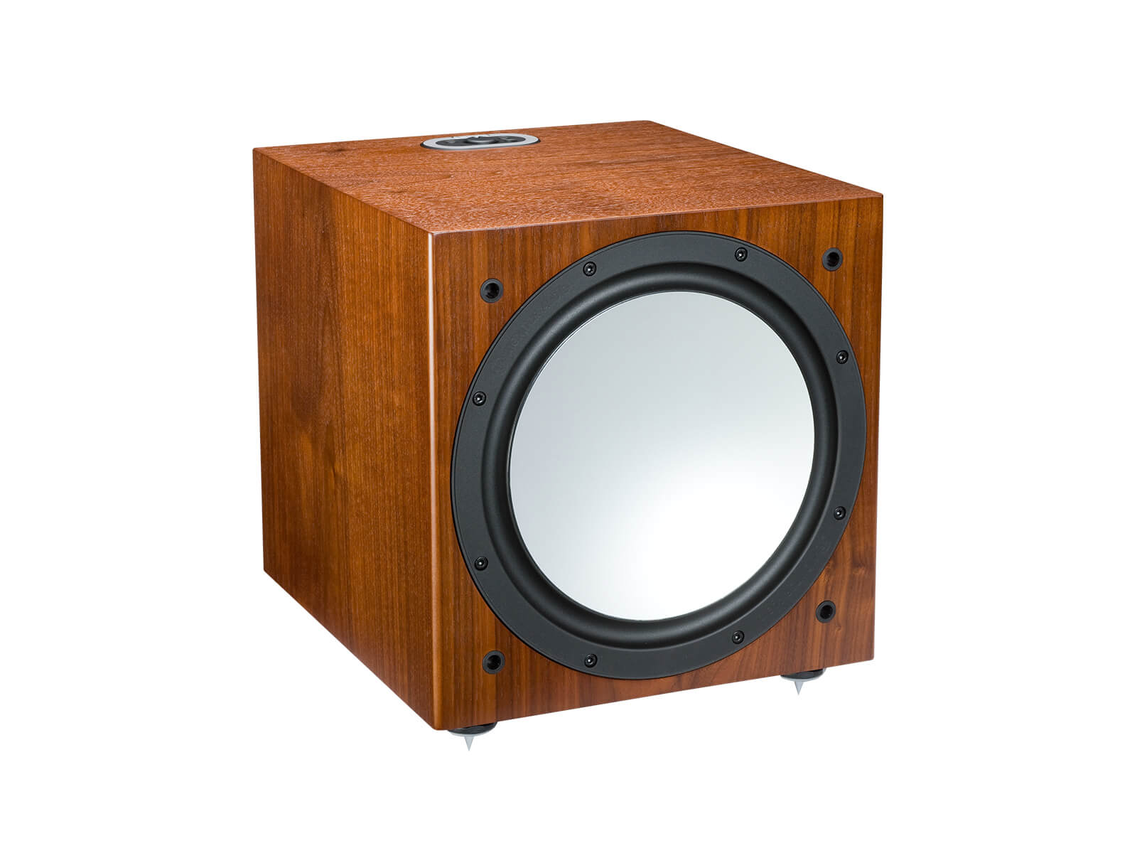 Silver W-12, grille-less subwoofer, with a walnut finish.