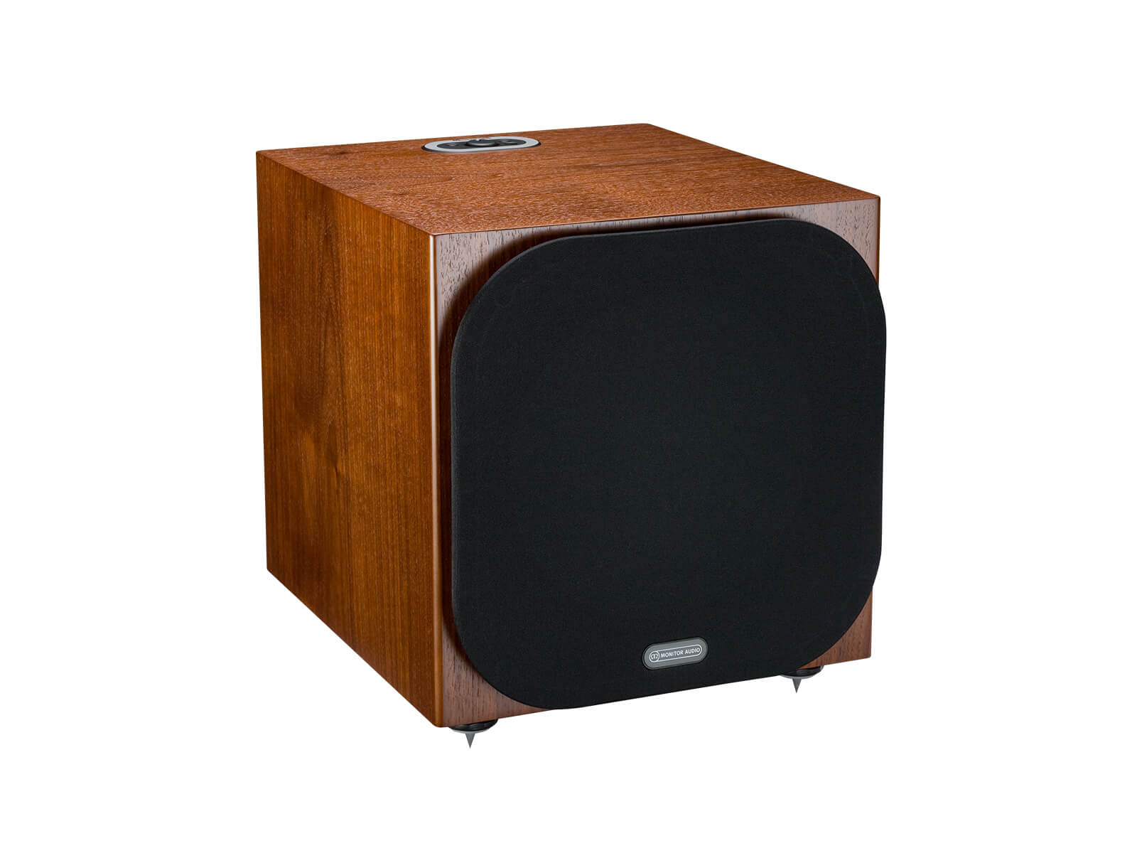 Silver W-12 subwoofer, featuring a grille and a walnut finish.