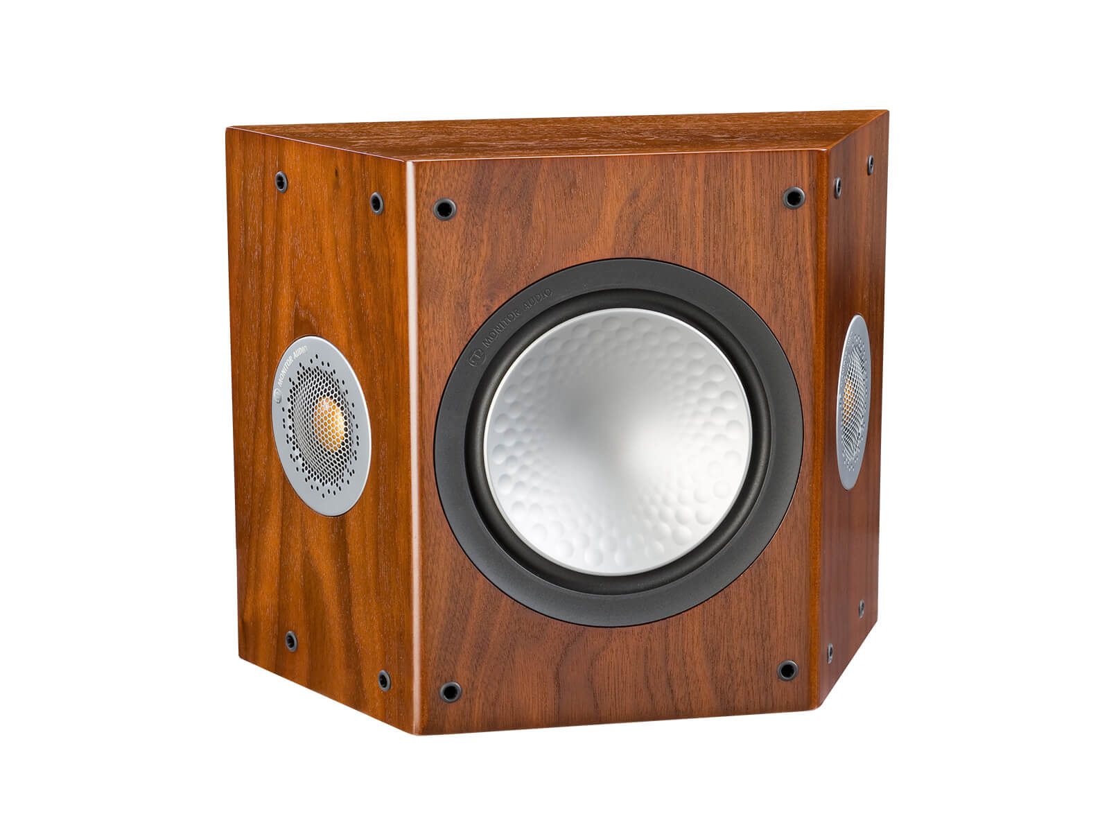 Silver FX, grille-less surround speakers, with a walnut finish.