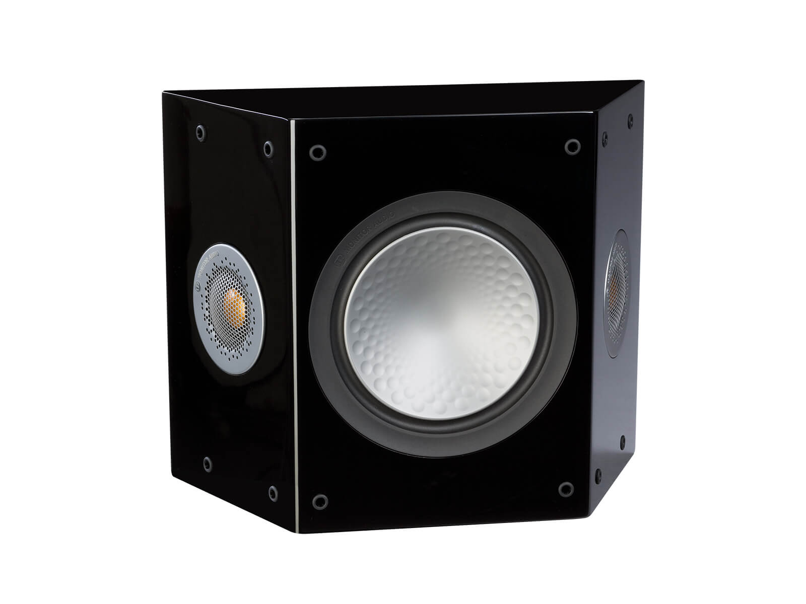 Silver FX, grille-less surround speakers, with a high gloss black finish.