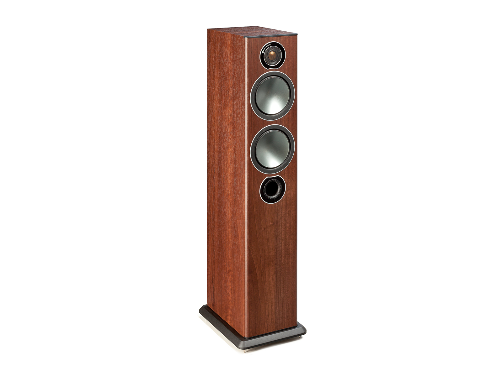 Bronze 5, grille-less floorstanding speakers, with a walnut vinyl finish.