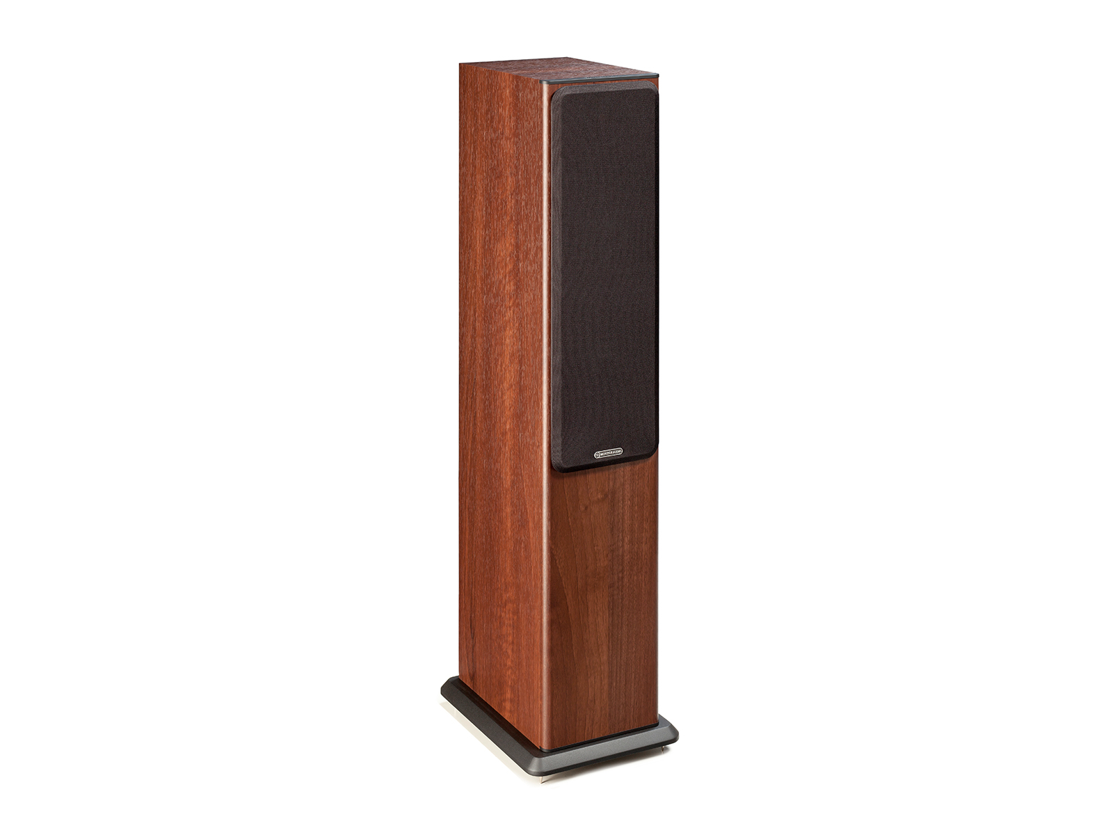 Bronze 5, floorstanding speakers, featuring a grille and a walnut vinyl finish.