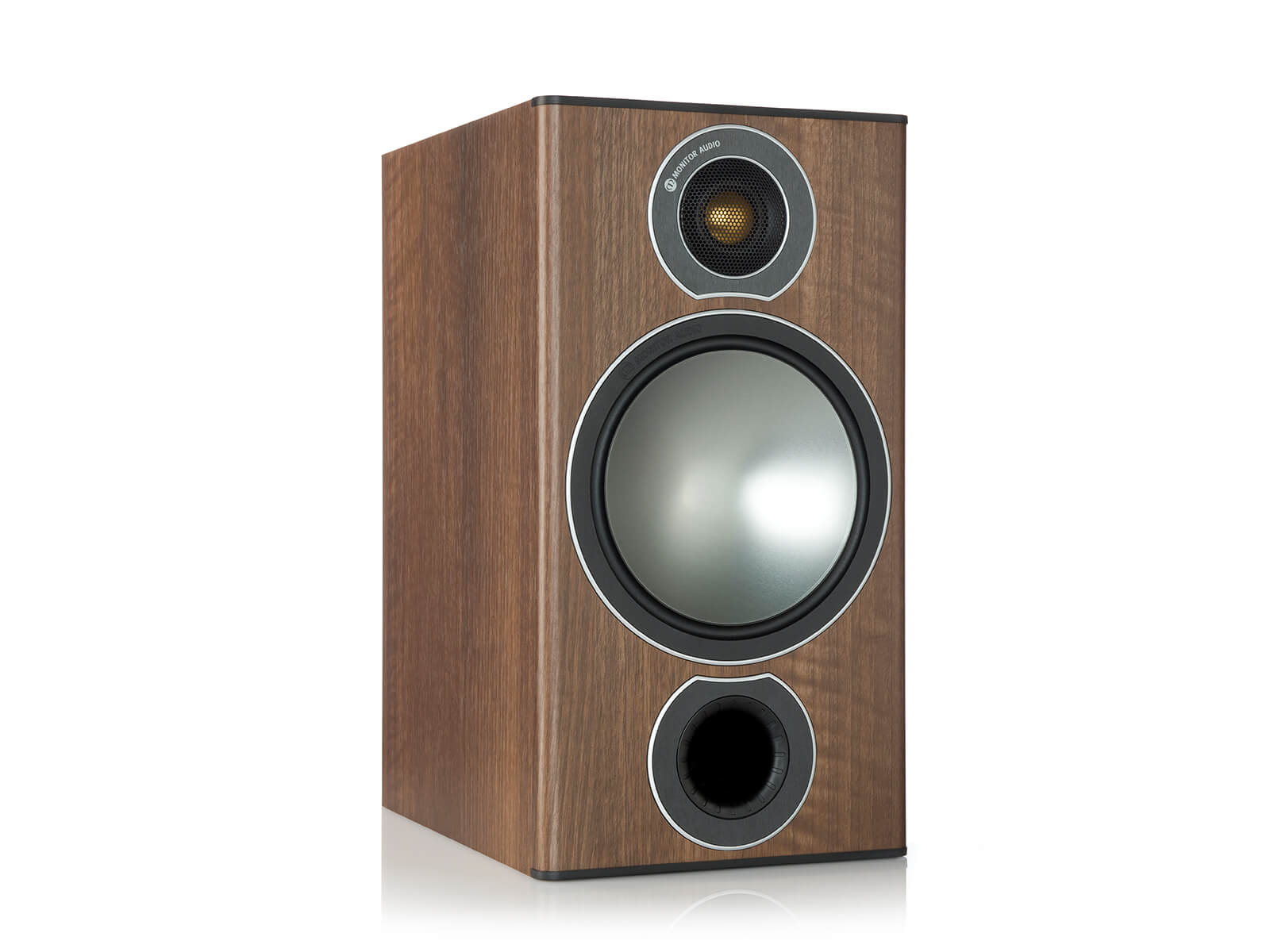 Bronze 2, grille-less bookshelf speakers, with a walnut vinyl finish.