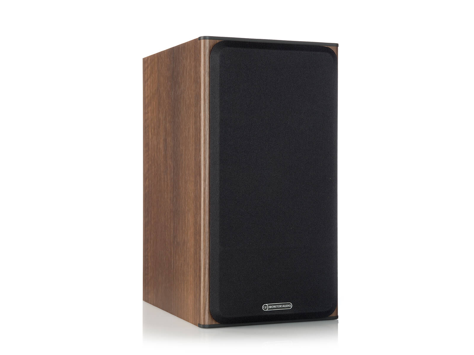 Bronze 2, bookshelf speakers, featuring a grille and a walnut vinyl finish.