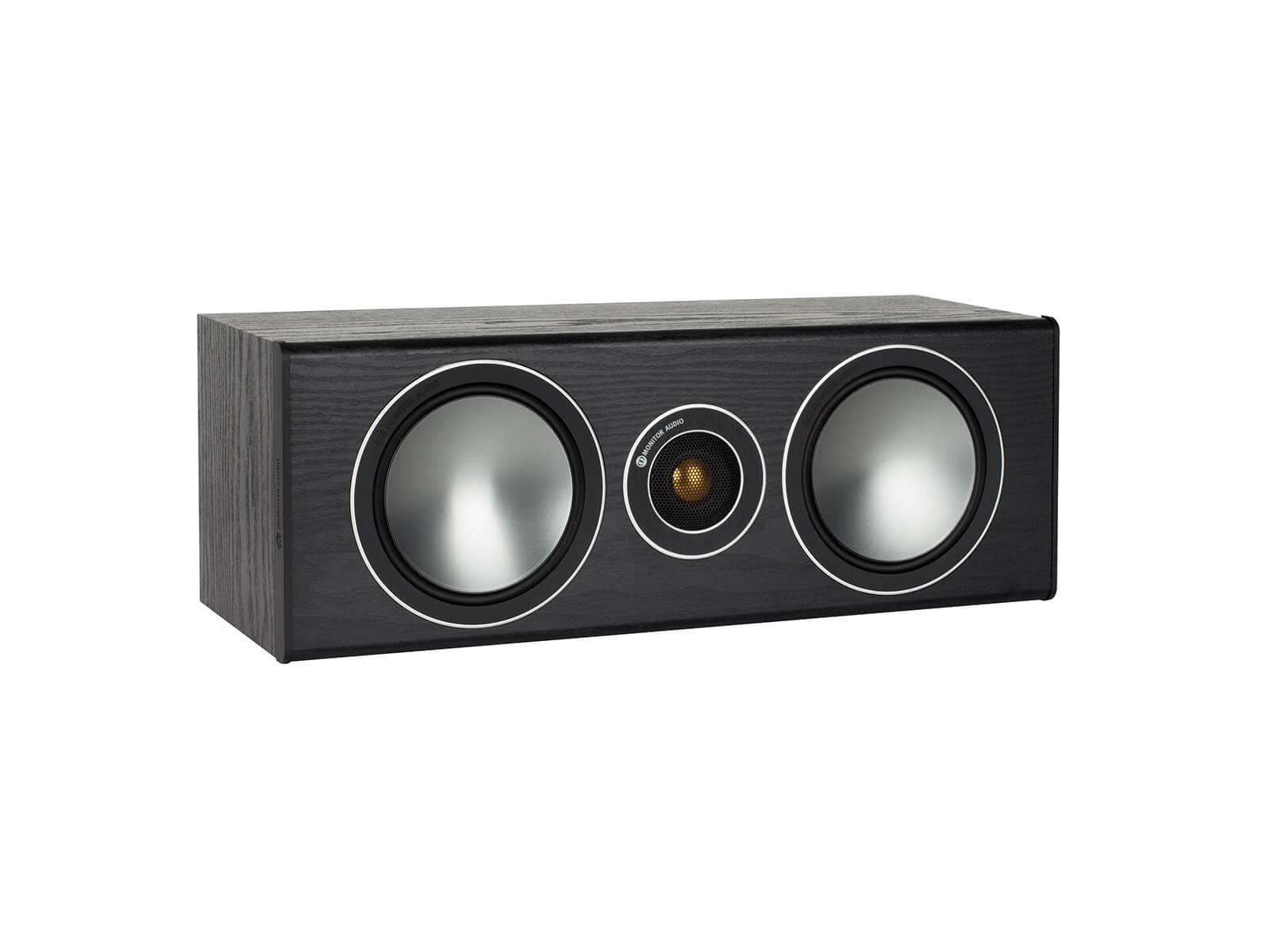 Bronze Centre, grille-less centre channel speakers, with a black oak vinyl finish.