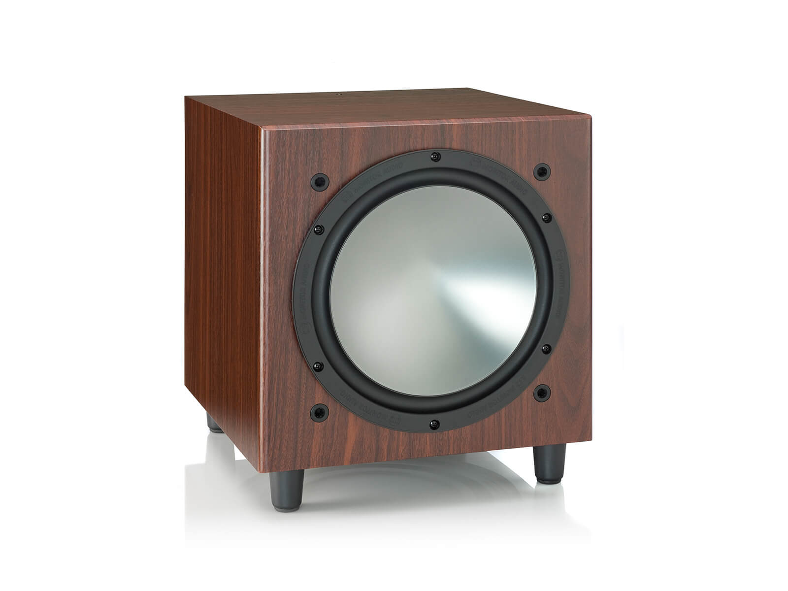 Bronze W10, grille-less subwoofer, with a rosemah vinyl finish.