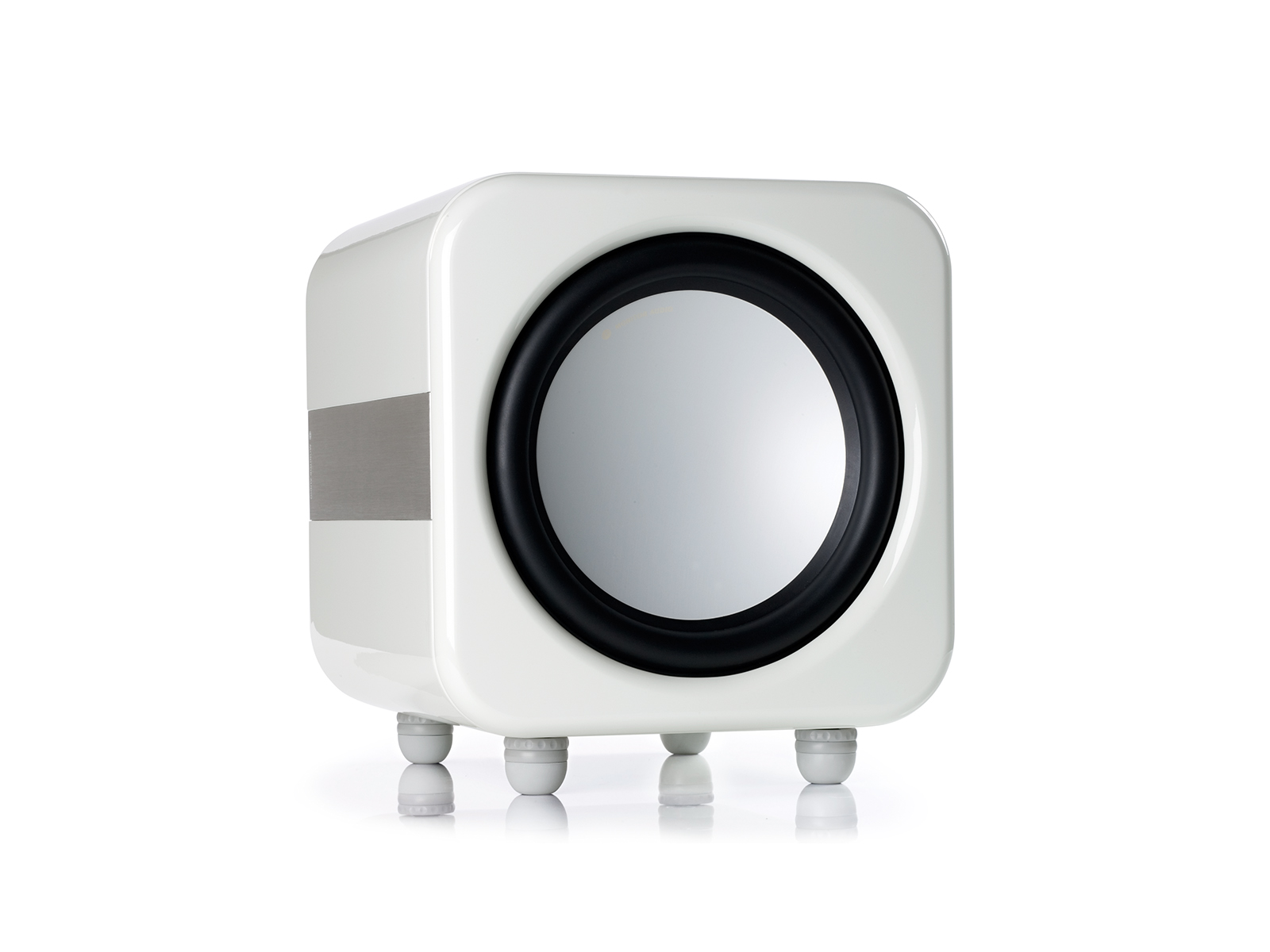 Apex AW12 subwoofer, with a metallic pearl white high gloss finish.