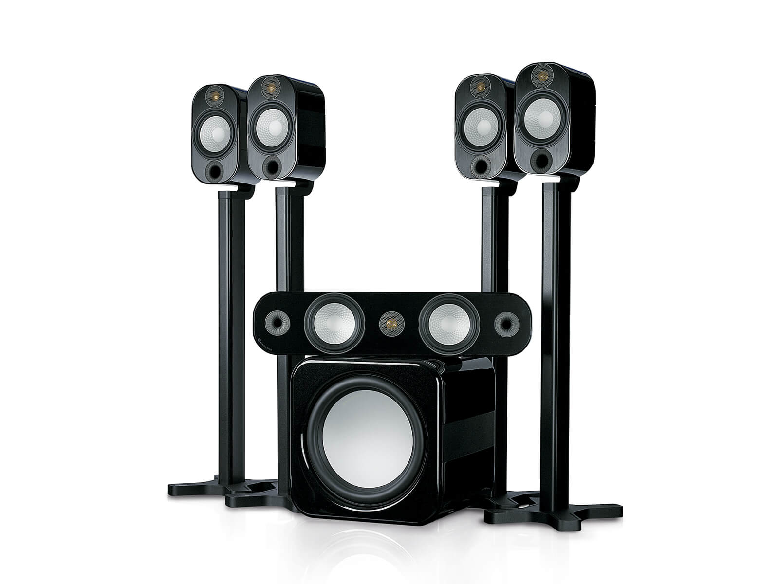 Apex A10AV12 speaker system, with a metallic black high gloss finish.