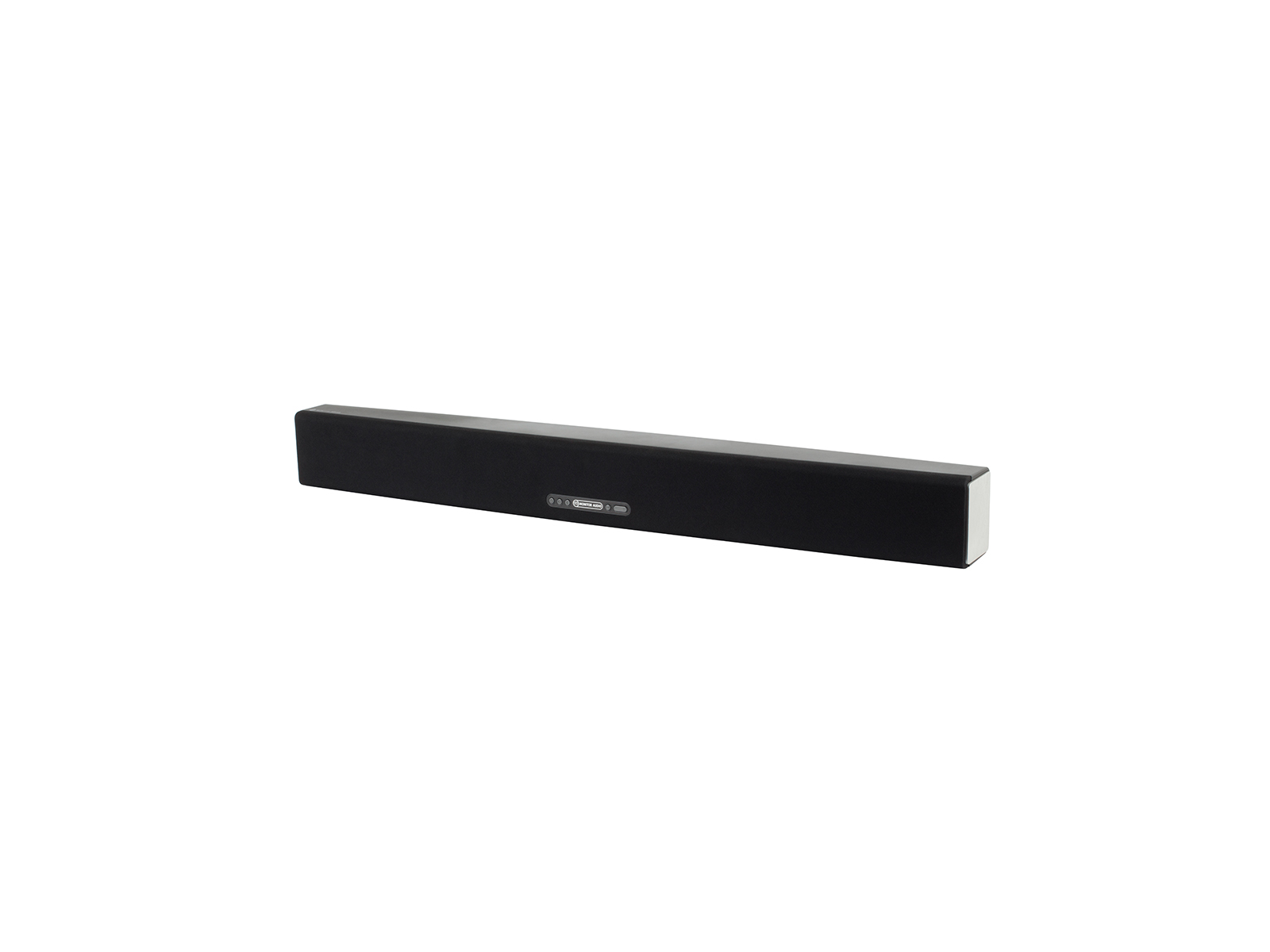 ASB-10, active soundbar speaker, iso, with a black cloth grille.