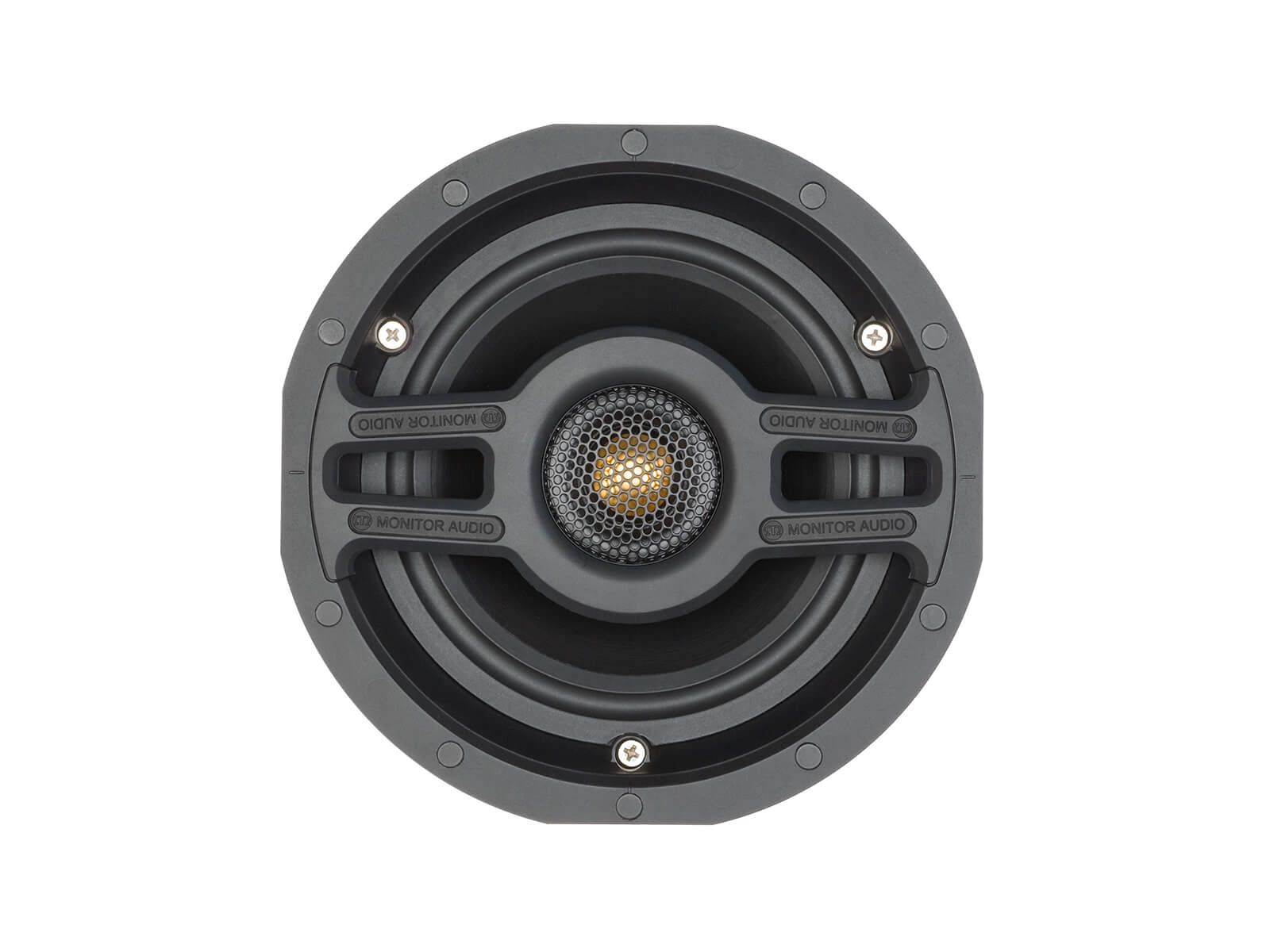 Slim CS160, front-on, grille-less in-ceiling speakers.