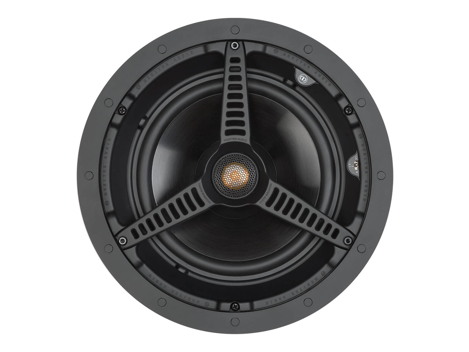 Core C180, front-on, grille-less in-ceiling speakers.