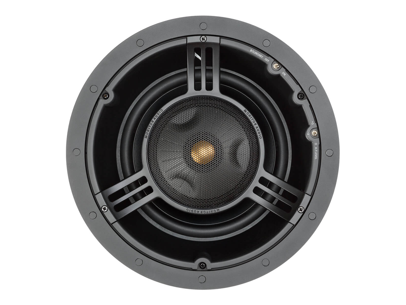 Core C280-IDC, front-on, grille-less in-ceiling speakers.