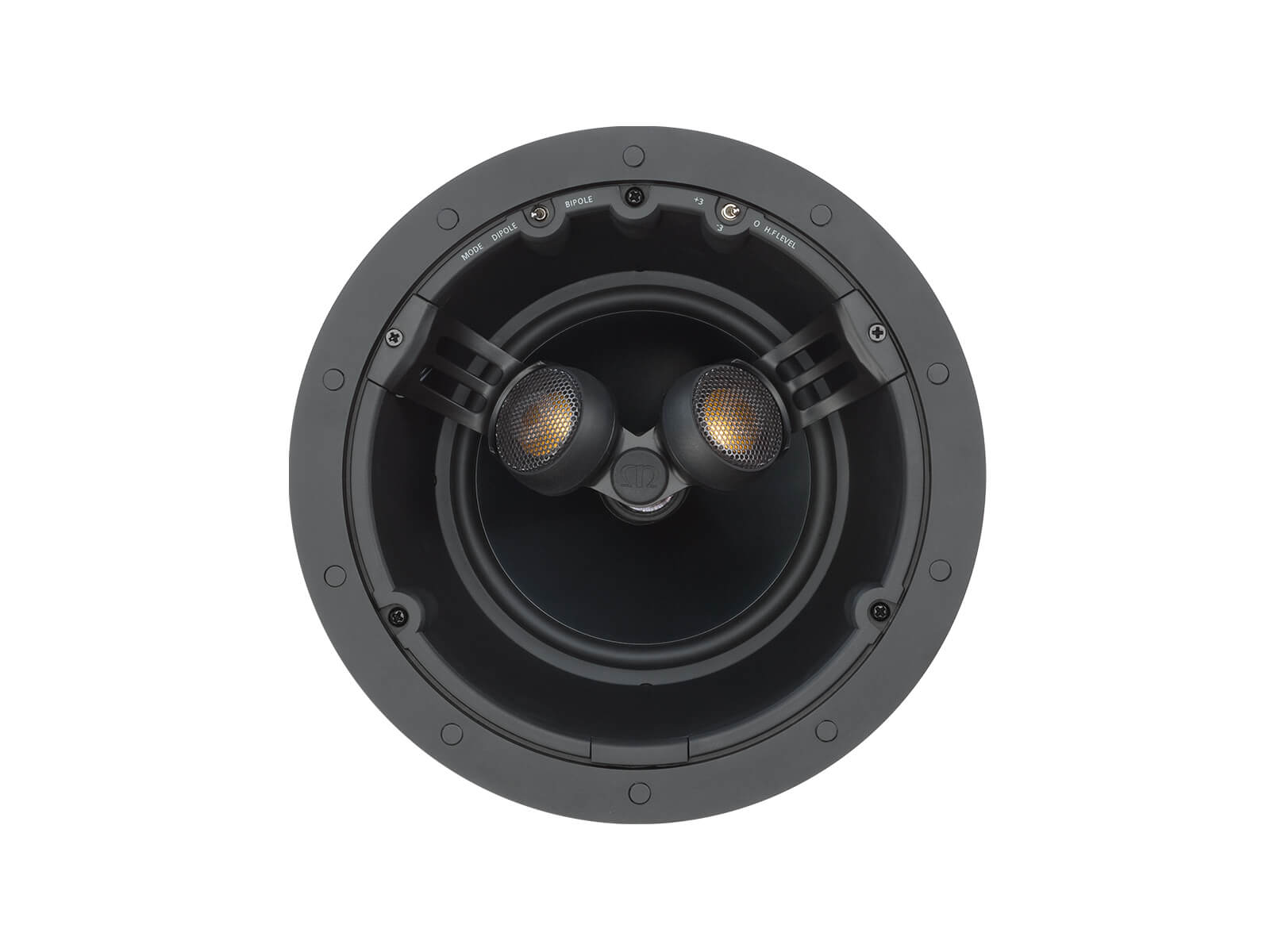 Core C265-FX, front-on, grille-less in-ceiling speakers.
