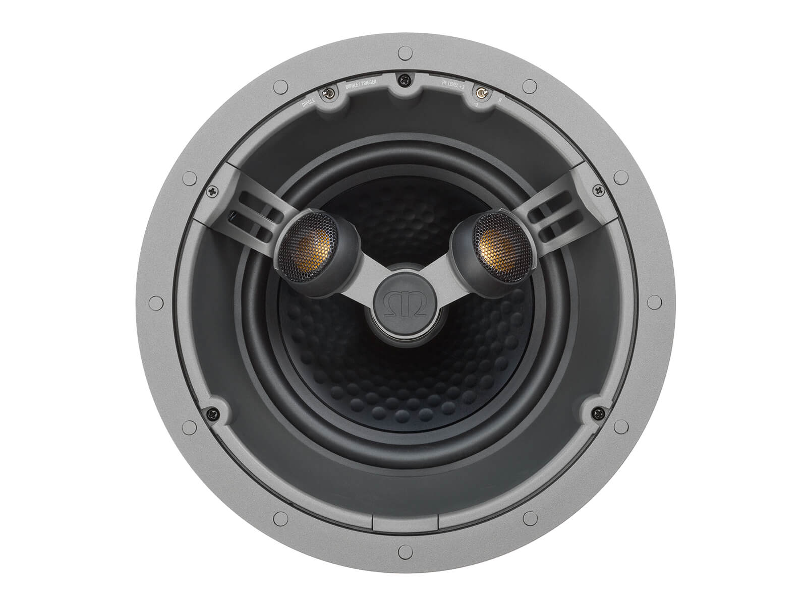 Core C380-FX, front-on, grille-less in-ceiling speakers.
