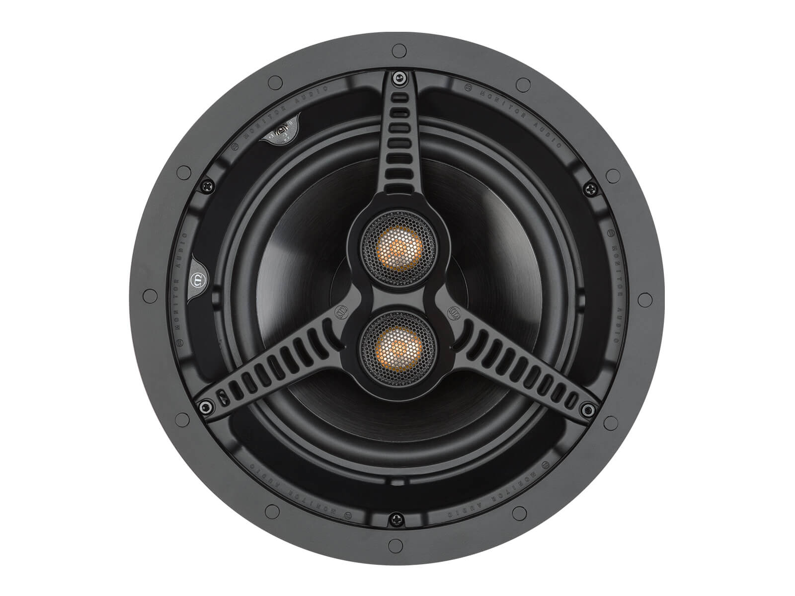 Core C180-T2, front-on, grille-less in-ceiling speakers.