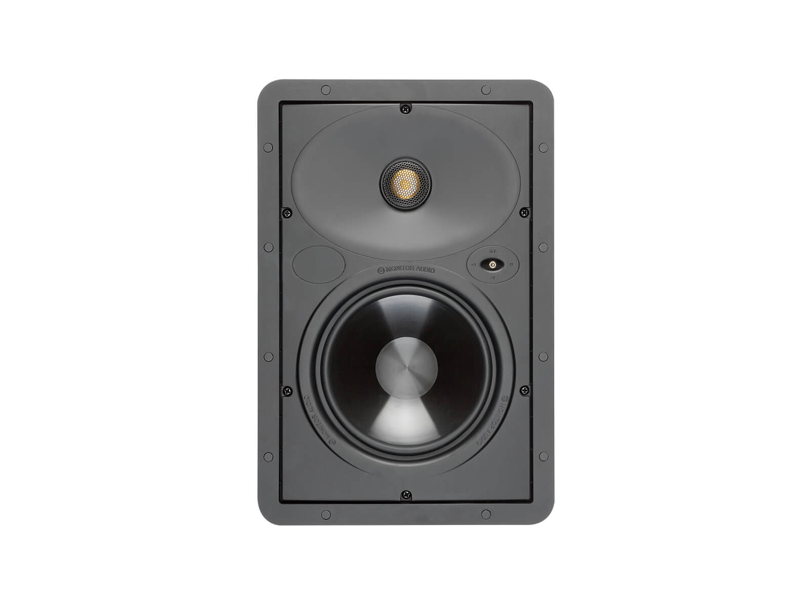 Core W165, front-on, grille-less in-wall speakers.