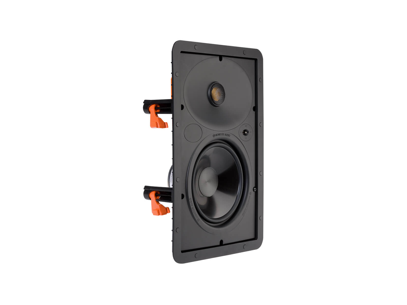 Core W165, front ISO, grille-less in-wall speakers.