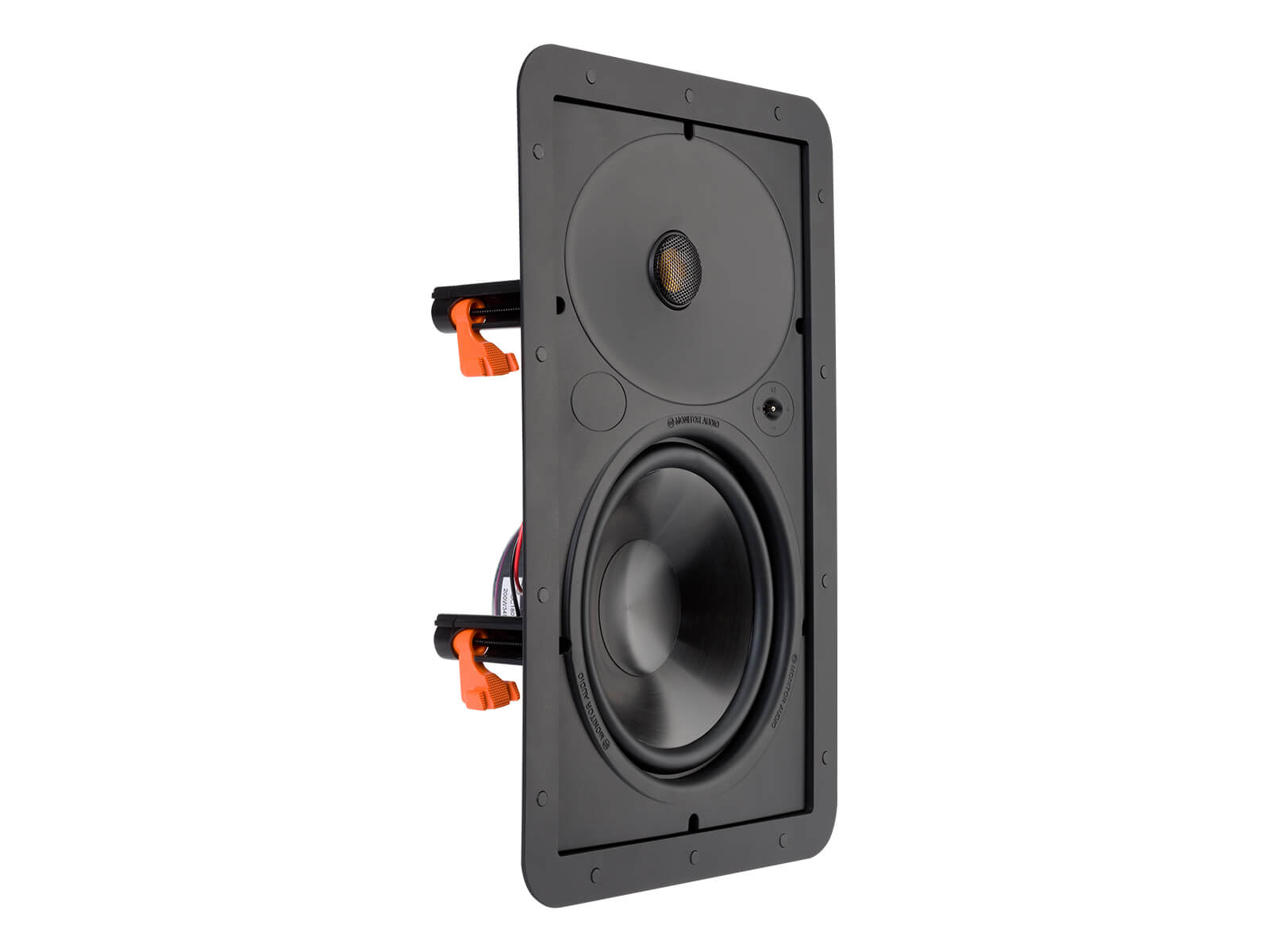 Core W180, front ISO, grille-less in-wall speakers.