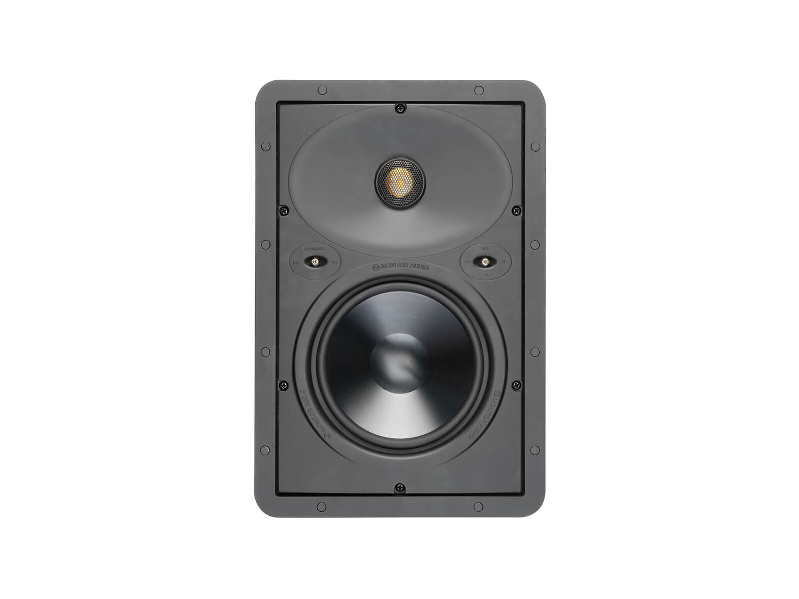 Core W265, front-on, grille-less in-wall speakers.