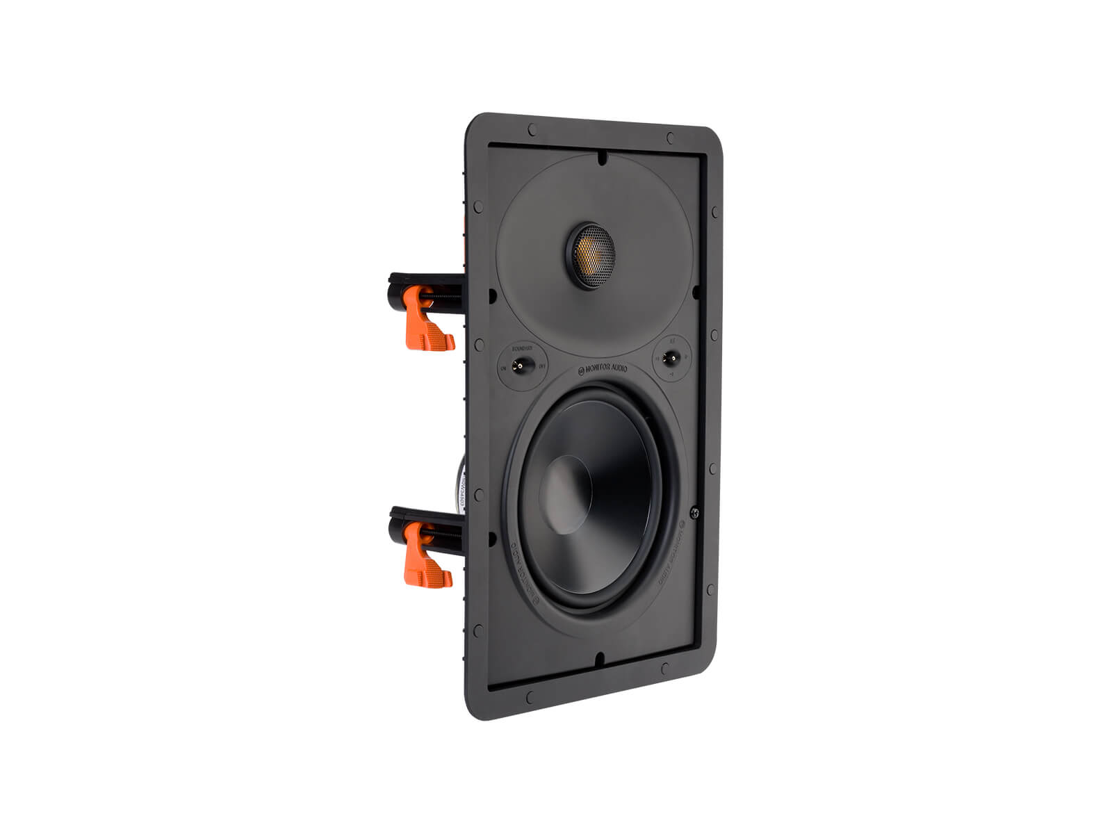 Core W265, front ISO, grille-less in-wall speakers.