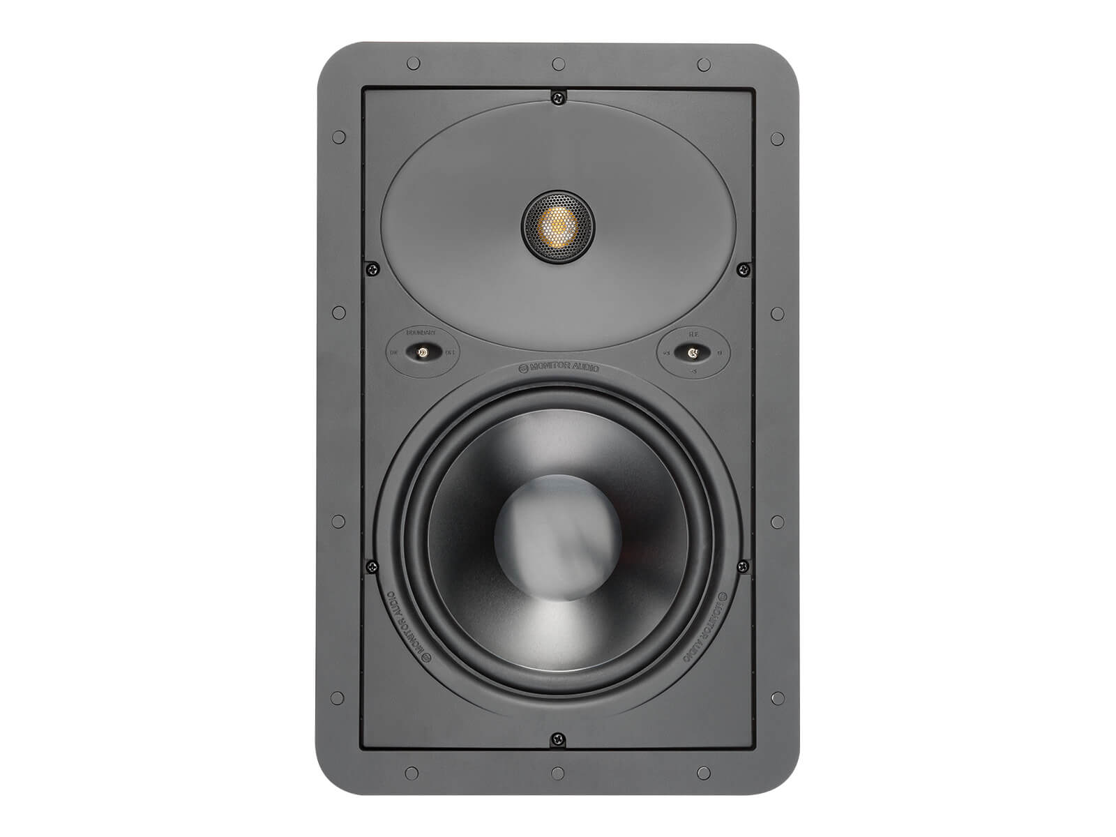 Core W280, front-on, grille-less in-wall speakers.