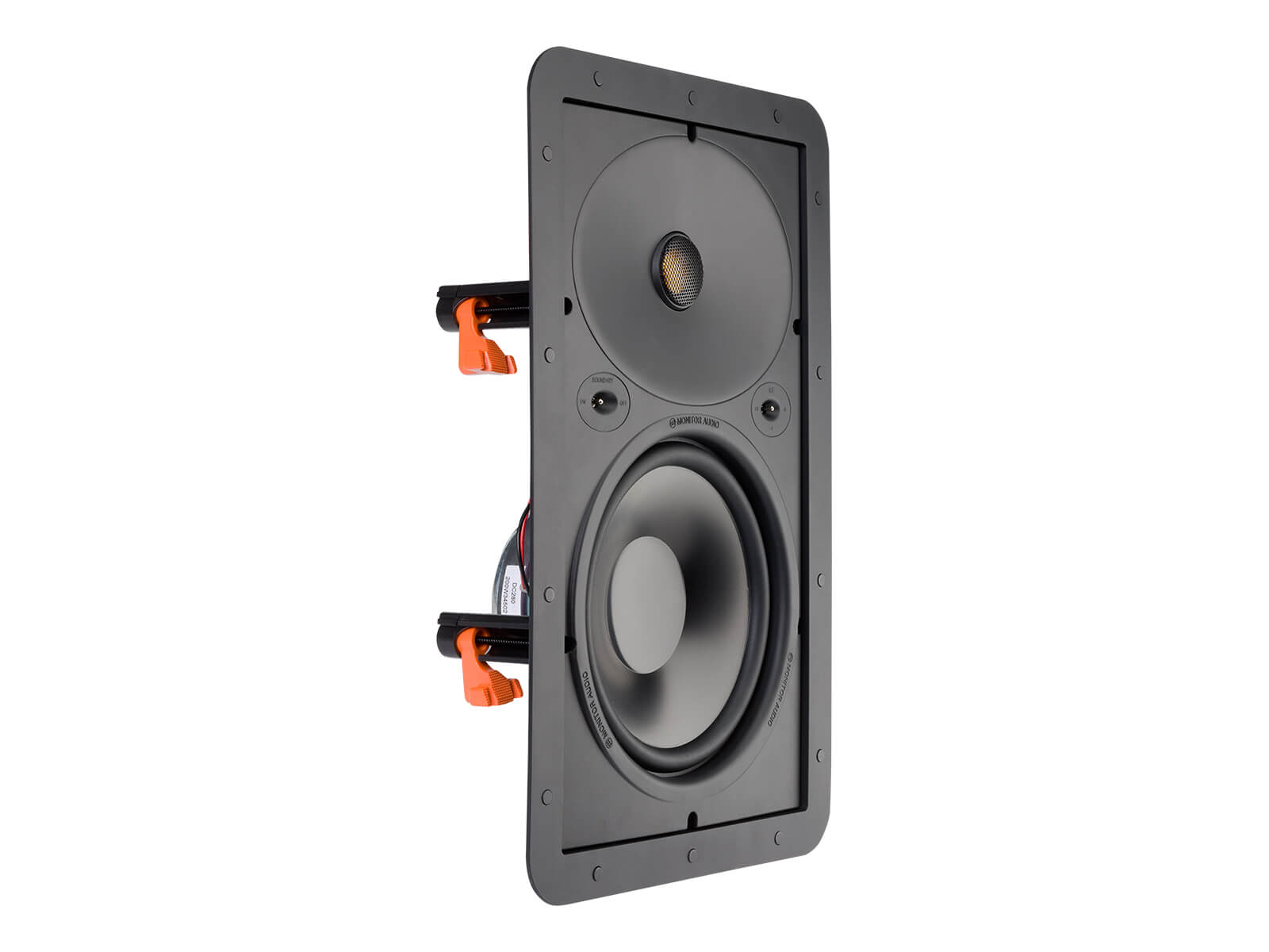Core W280, front ISO, grille-less in-wall speakers.