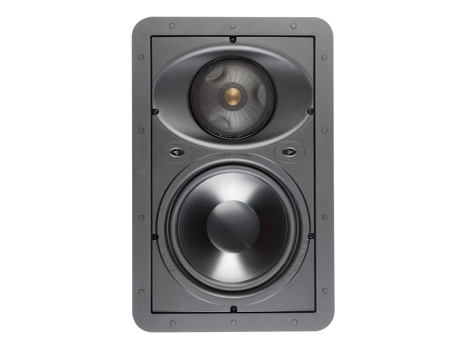 Core W280-IDC, front-on, grille-less in-wall speakers.