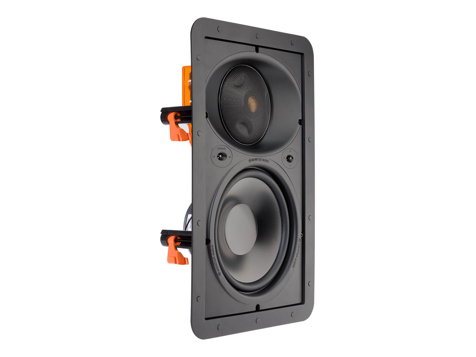 Core W280-IDC, front ISO, grille-less in-wall speakers.