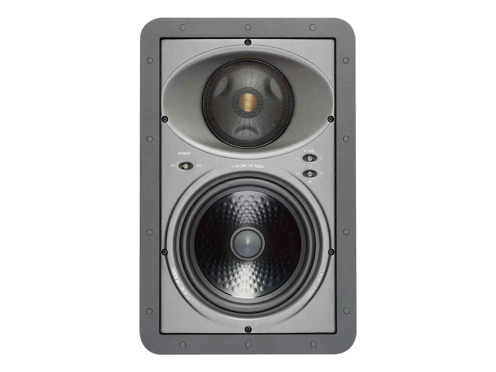 Core W380-IDC, front-on, grille-less in-wall speakers.