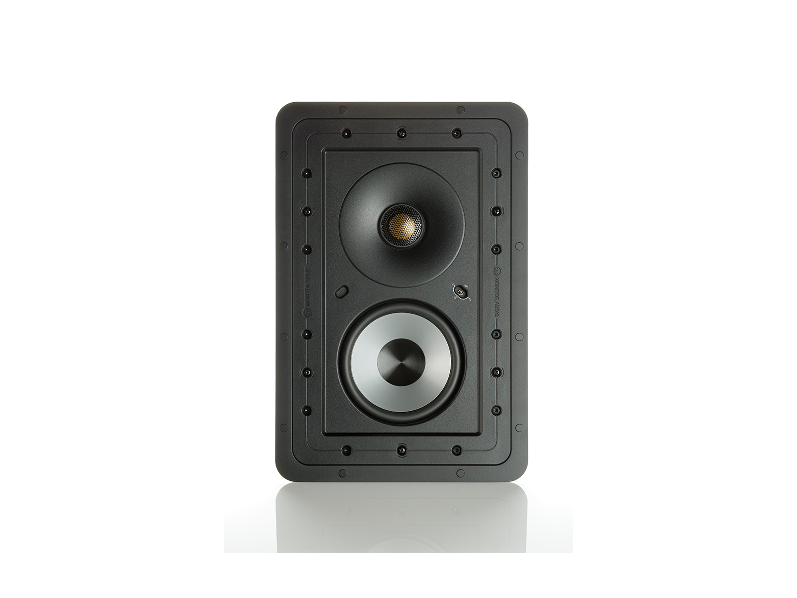 Controlled Performance CP-WT150, front-on, grille-less in-wall speakers.