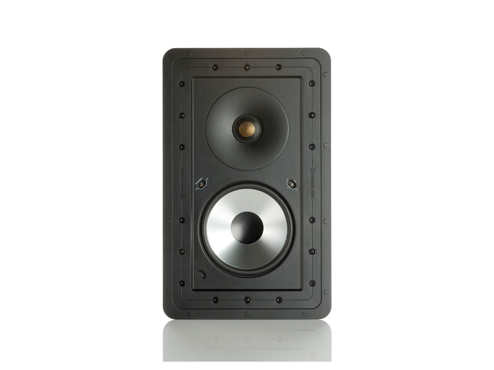 Controlled Performance CP-WT260, front-on, grille-less in-wall speakers.