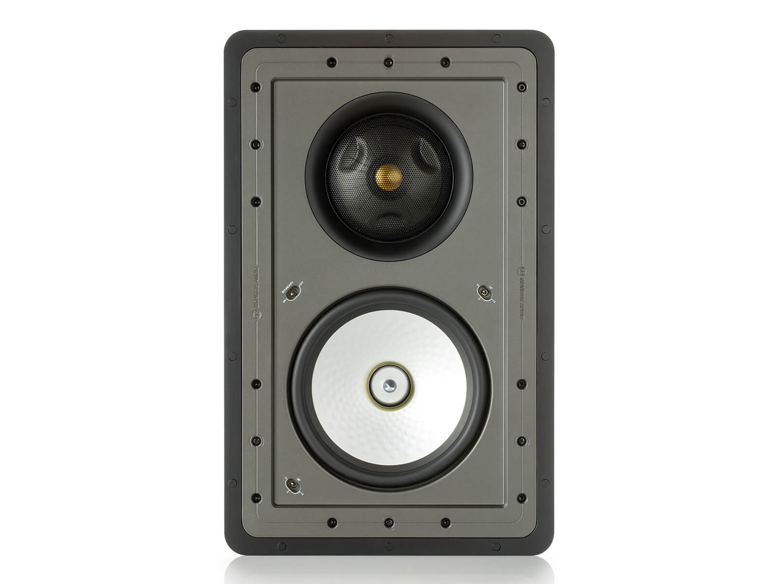 Controlled Performance CP-WT380IDC, front-on, grille-less in-wall speakers.