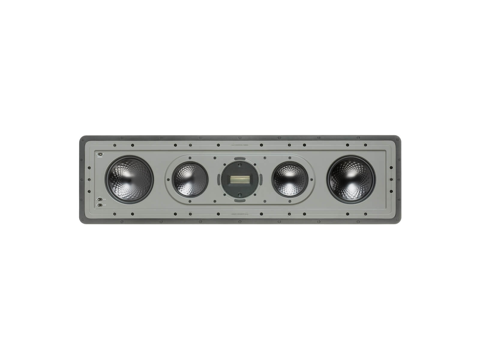 Controlled Performance CP-IW460X, horizontal front-on, grille-less in-wall speakers.