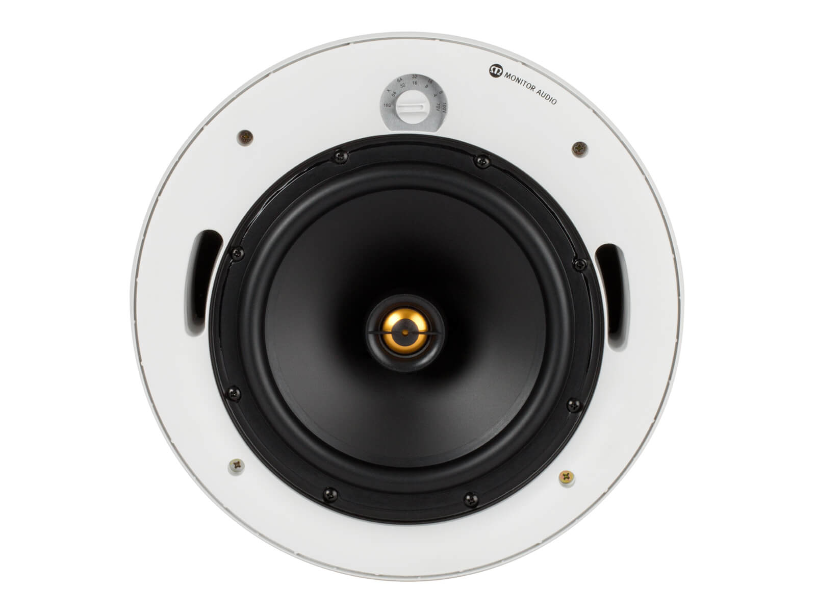 Pro-80LV, front-on, grille-less in-ceiling speakers.