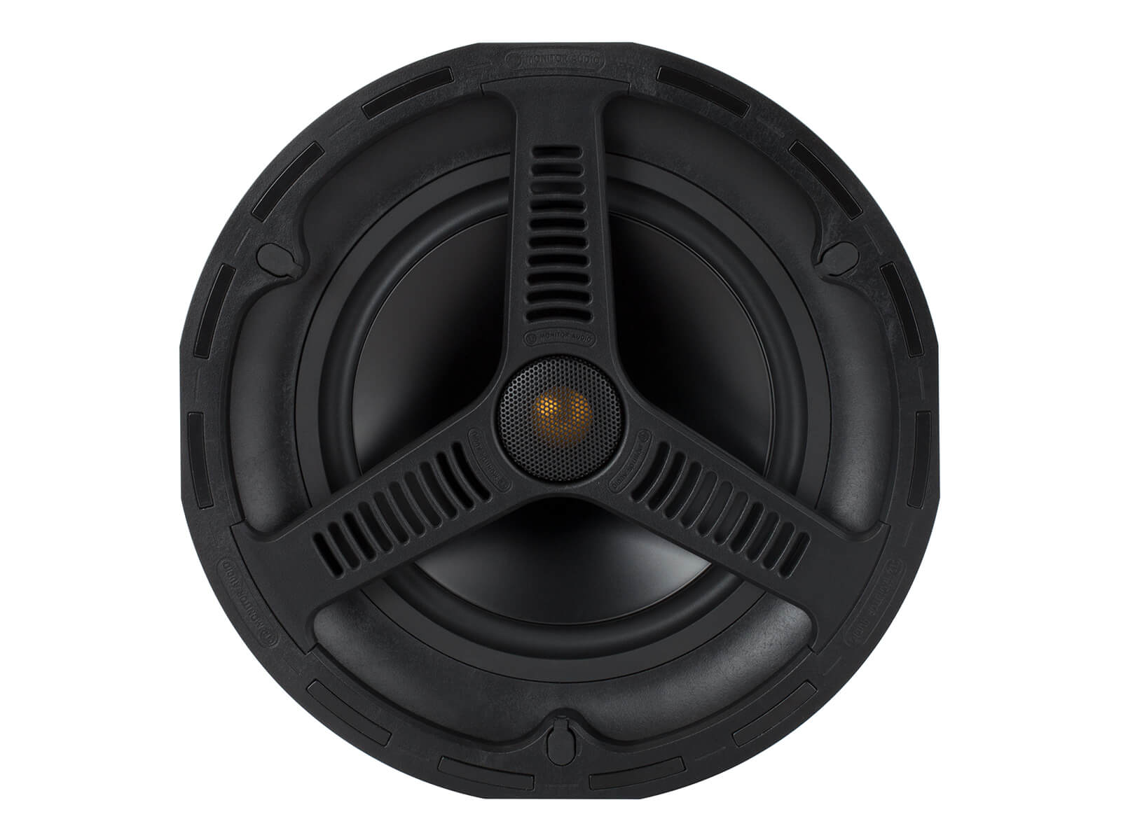 All Weather AWC280, front-on, grille-less in-ceiling speakers.