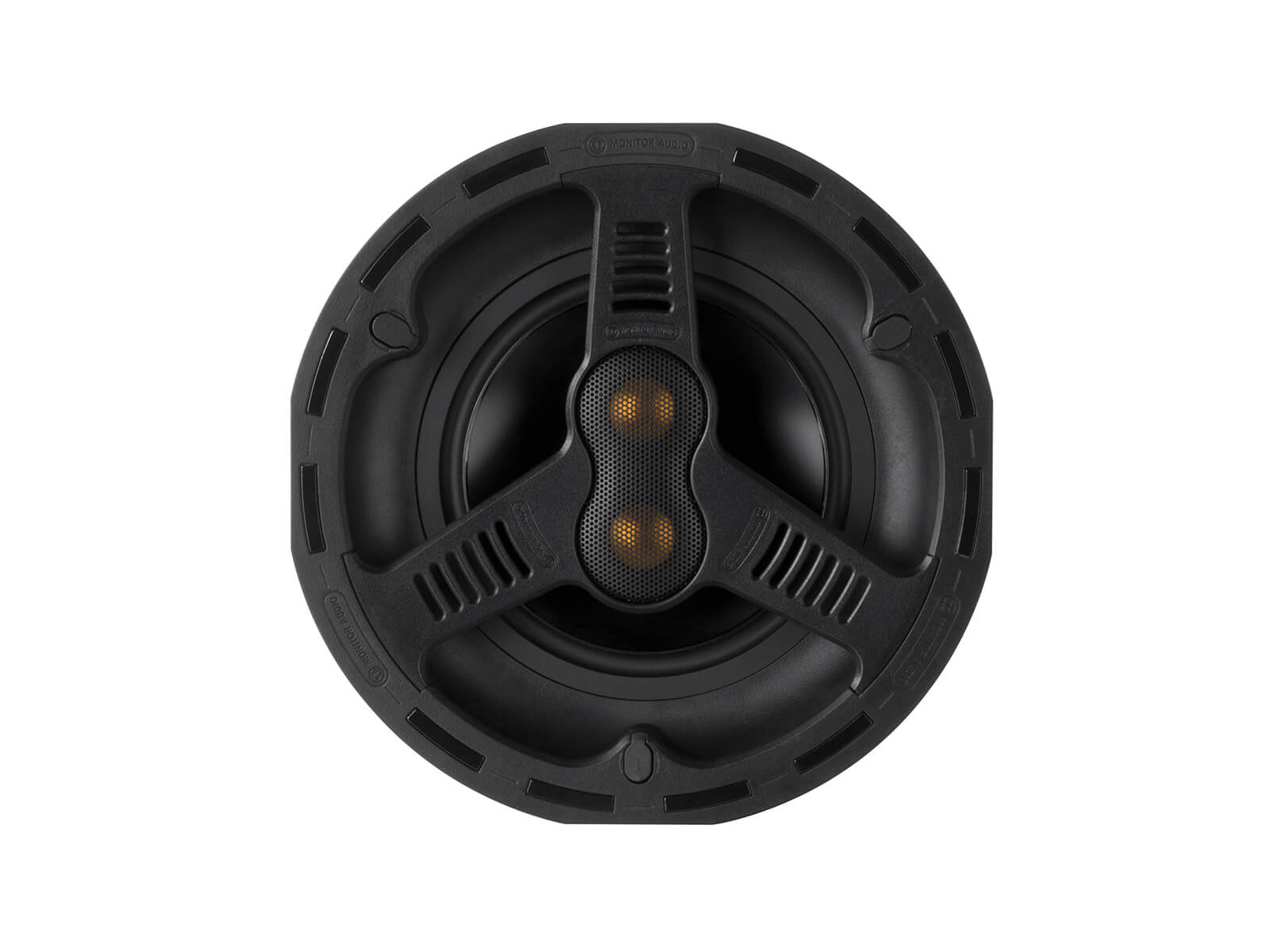 All Weather AWC265-T2, front-on, grille-less in-ceiling speakers.