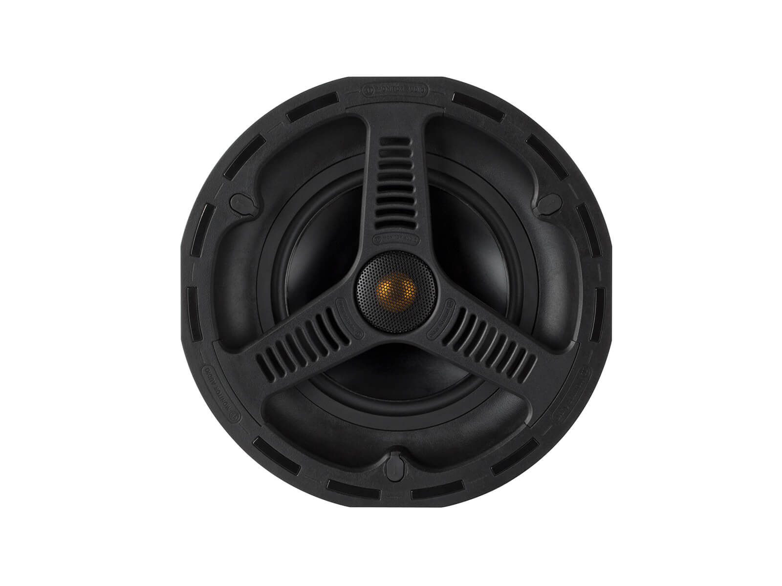 All Weather AWC265, front-on, grille-less in-ceiling speakers.