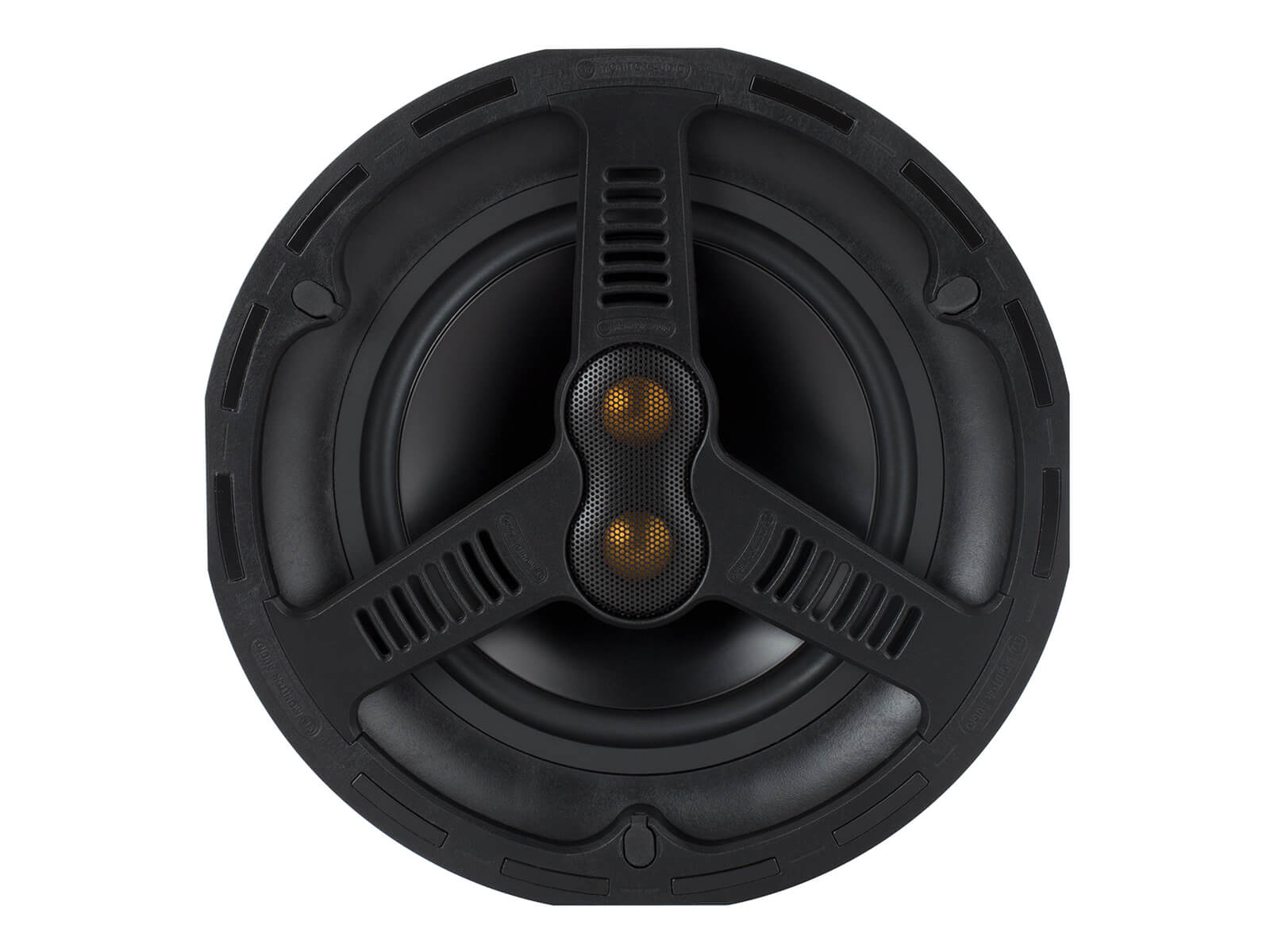 All Weather AWC280-T2, front-on, grille-less in-ceiling speakers.