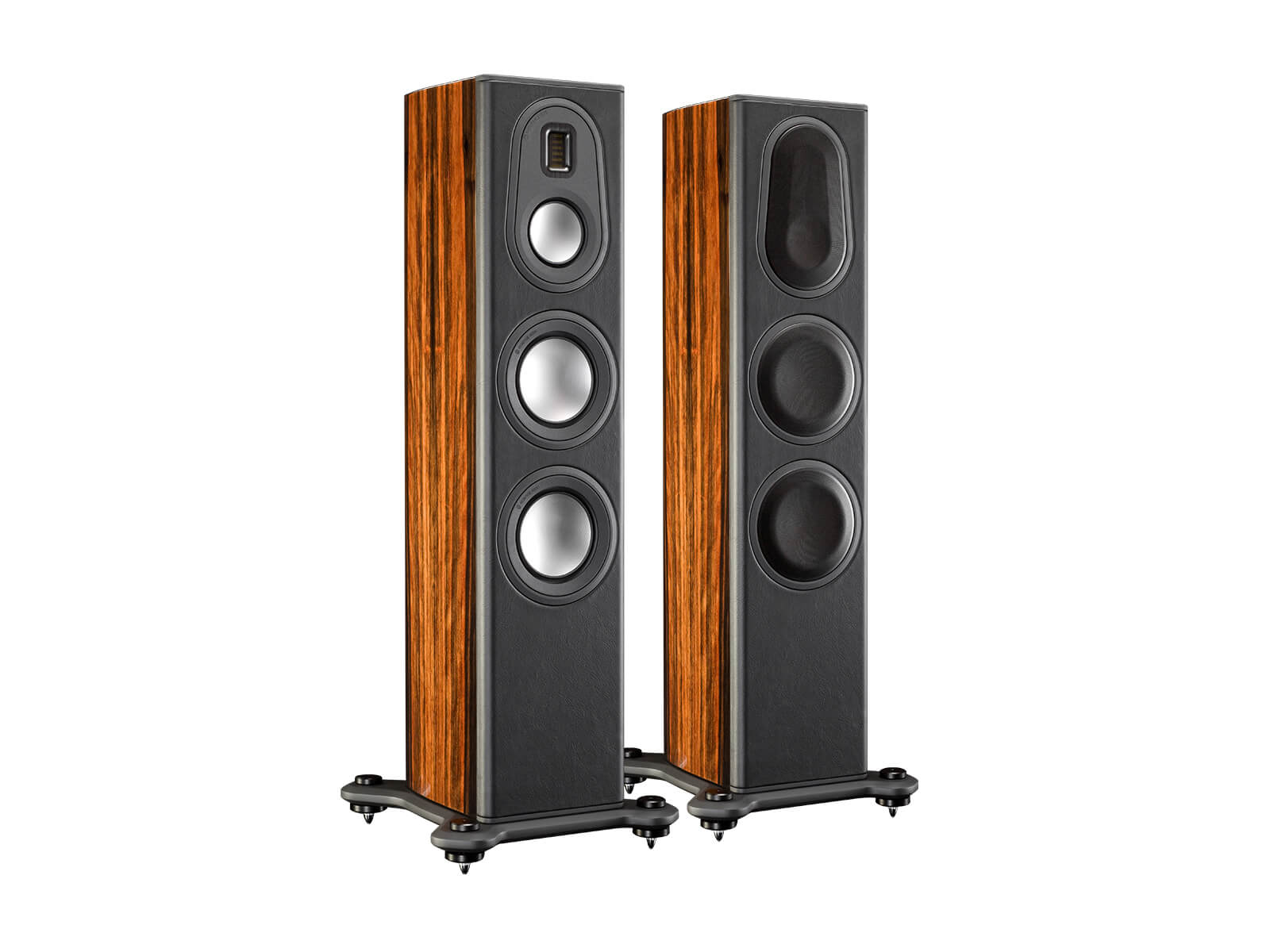 Platinum PL200 II, grille-less floorstanding speakers, with an ebony real wood veneer finish.