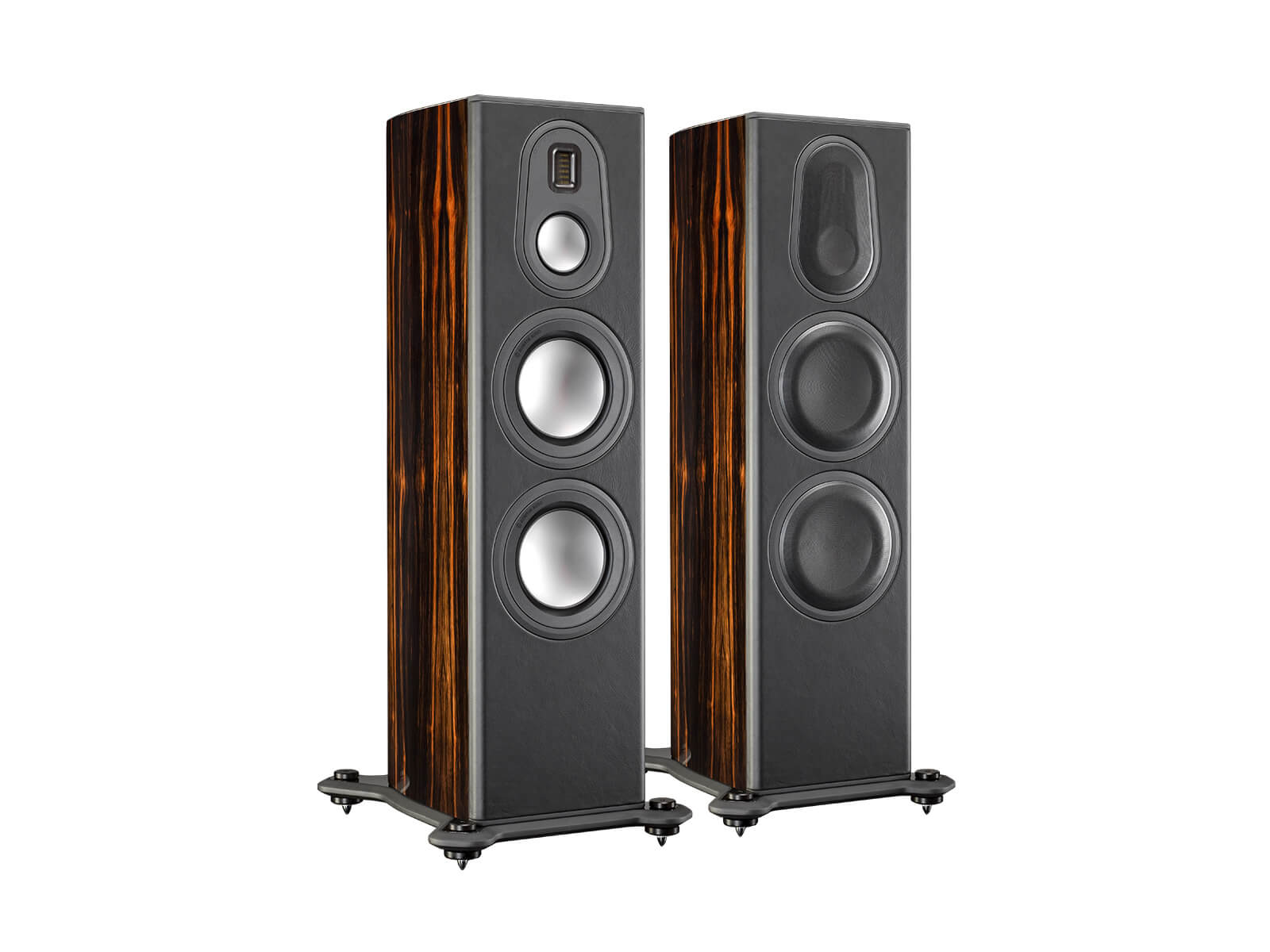 Platinum PL300 II, grille-less floorstanding speakers, with a piano black lacquer finish.