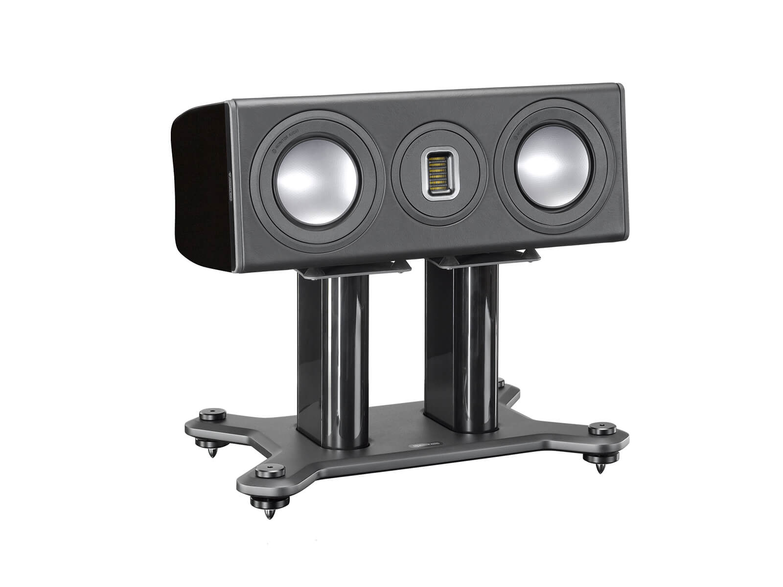 Platinum PLC150 II, grille-less centre channel speakers, with an ebony real wood veneer finish.